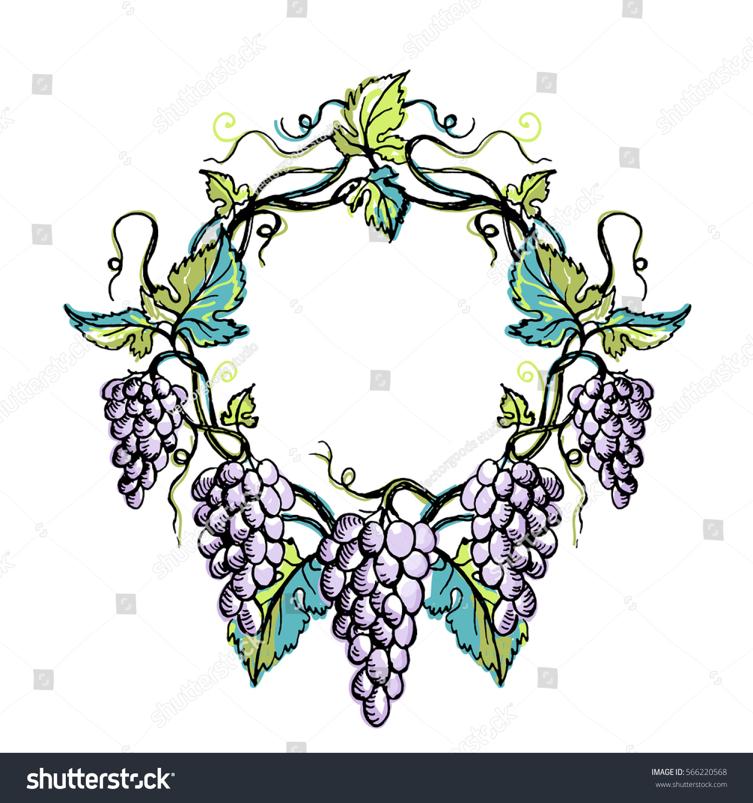 watercolor wreath grape leaves graphic style stock vector