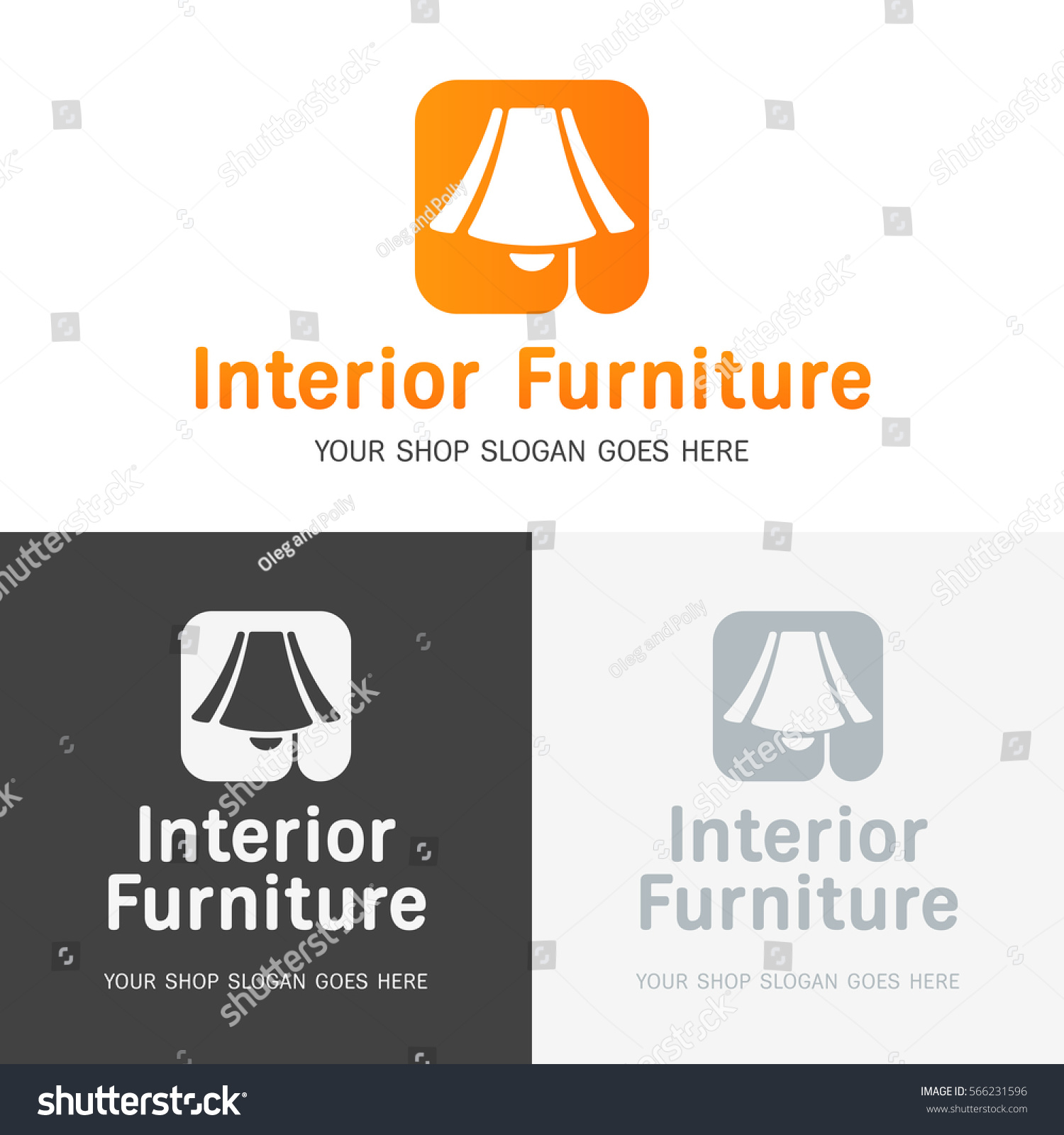 Set Logo Templates Furniture Store Line Stock Vector Royalty Free