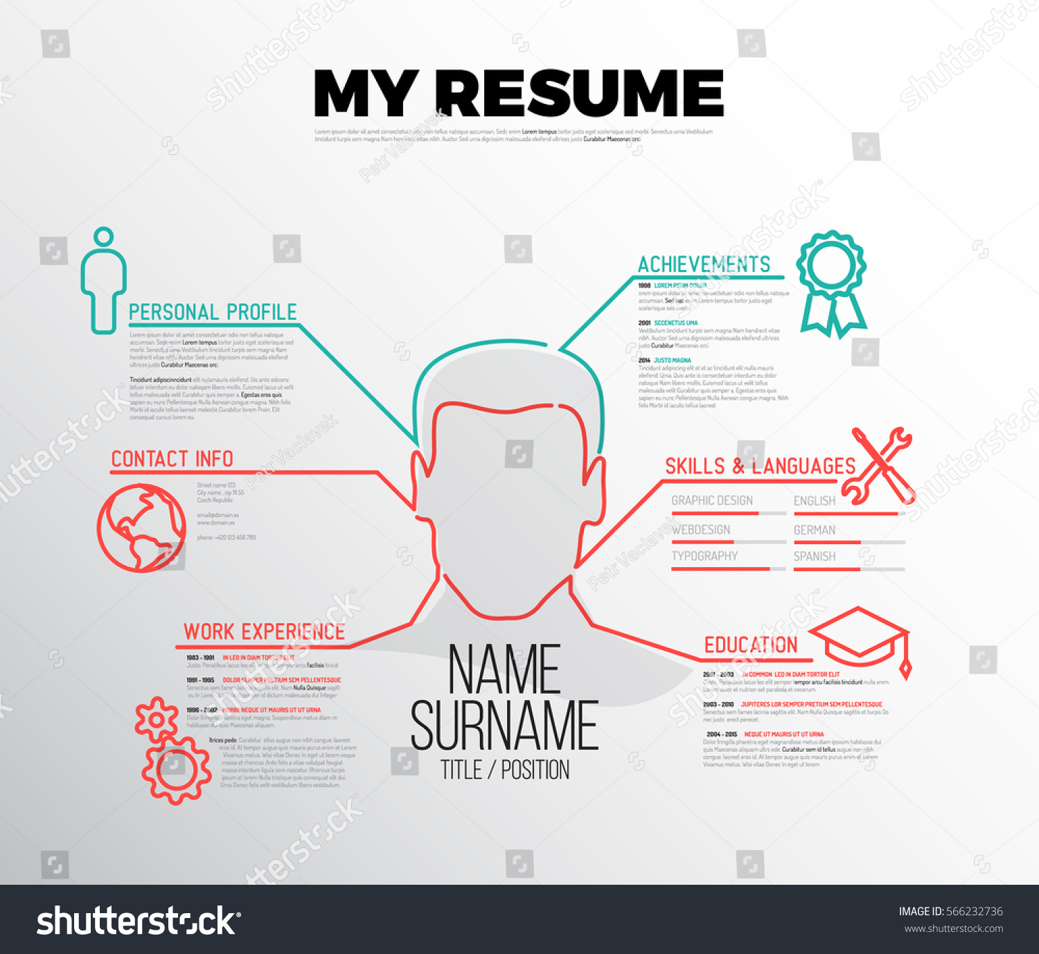 Original Minimalist Cv Resume Template Creative Stock Vector