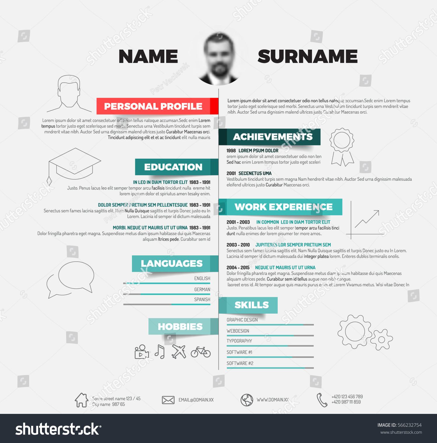vector minimalist cv resume template red stock vector 566232754