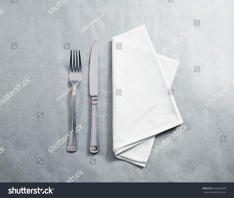 blank white restaurant napkin mockup knife stock photo 566235499