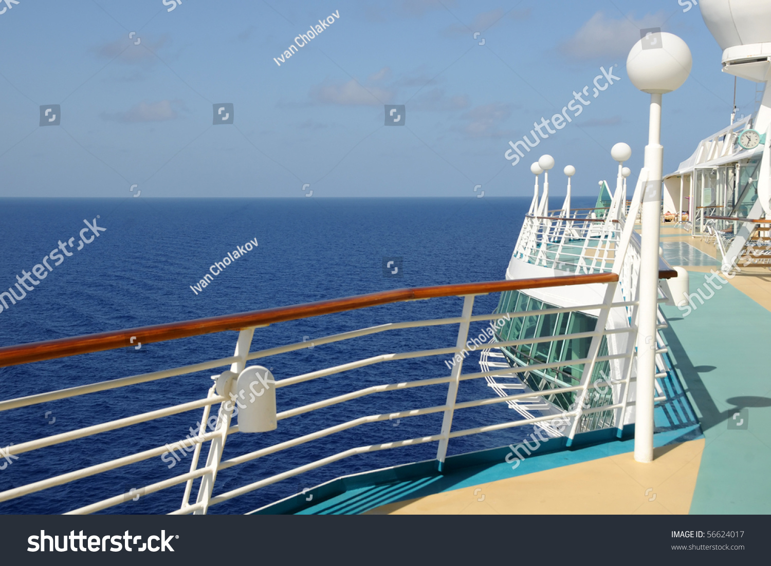 Sea horizon seen cruise ship balcony stock photo 56624017 for Cruise ship balcony view