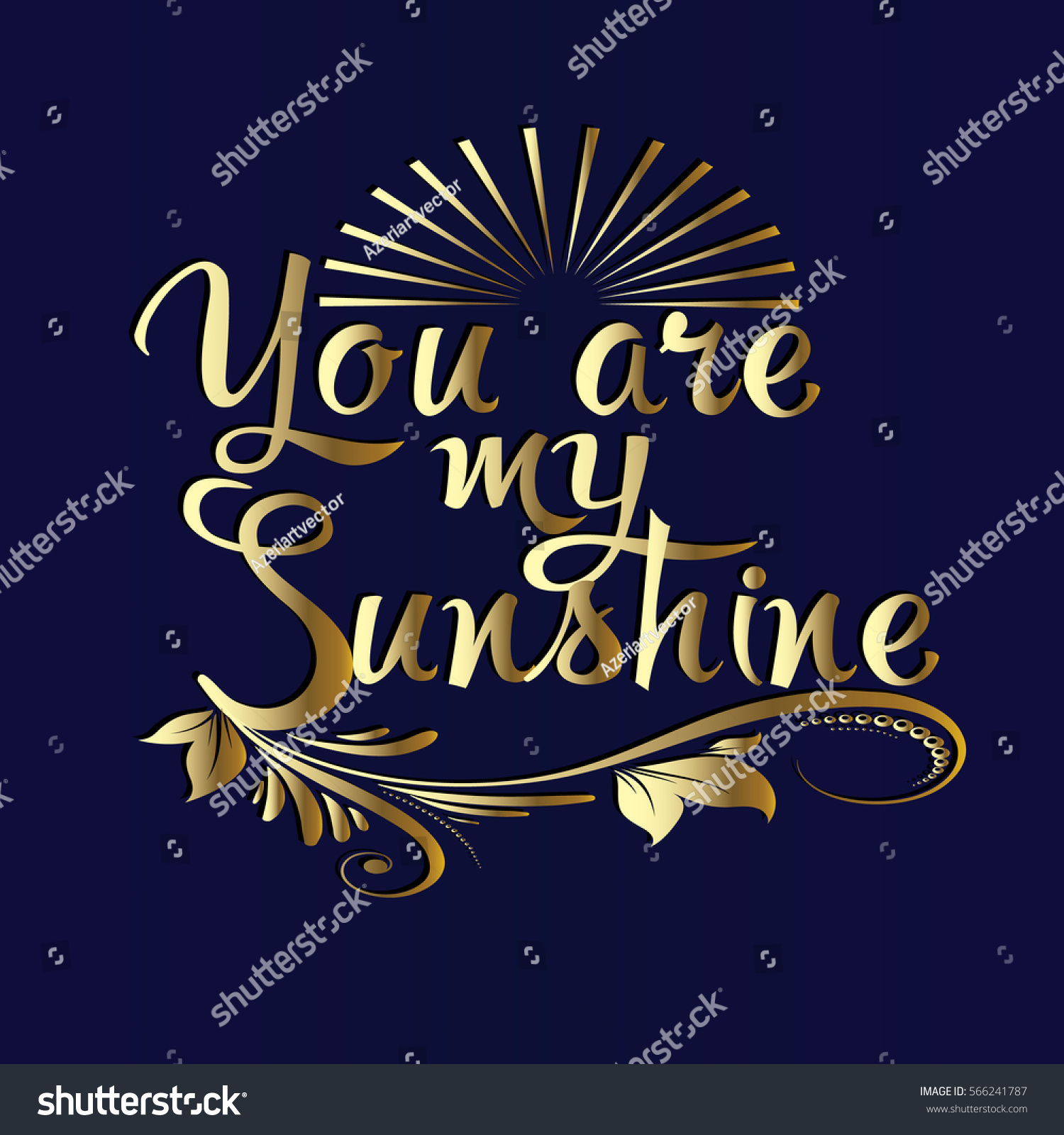 You my sunshine gold d vintage stock vector
