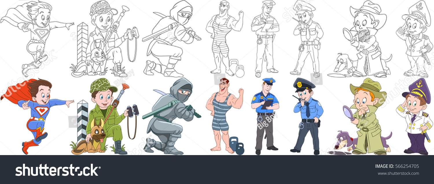cartoon working people set collection professions stock vector