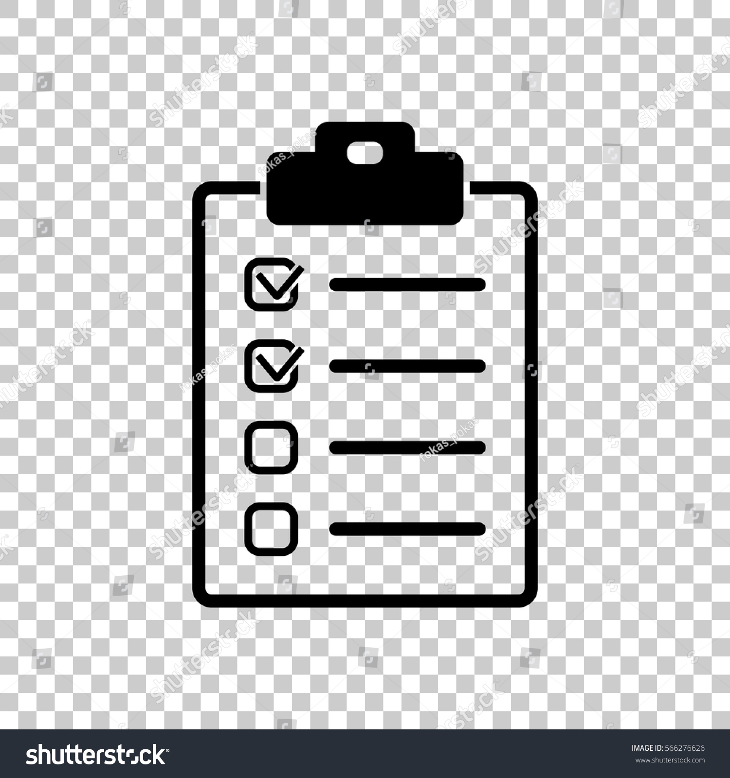 checklist icon black icon on transparent stock vector (royalty free