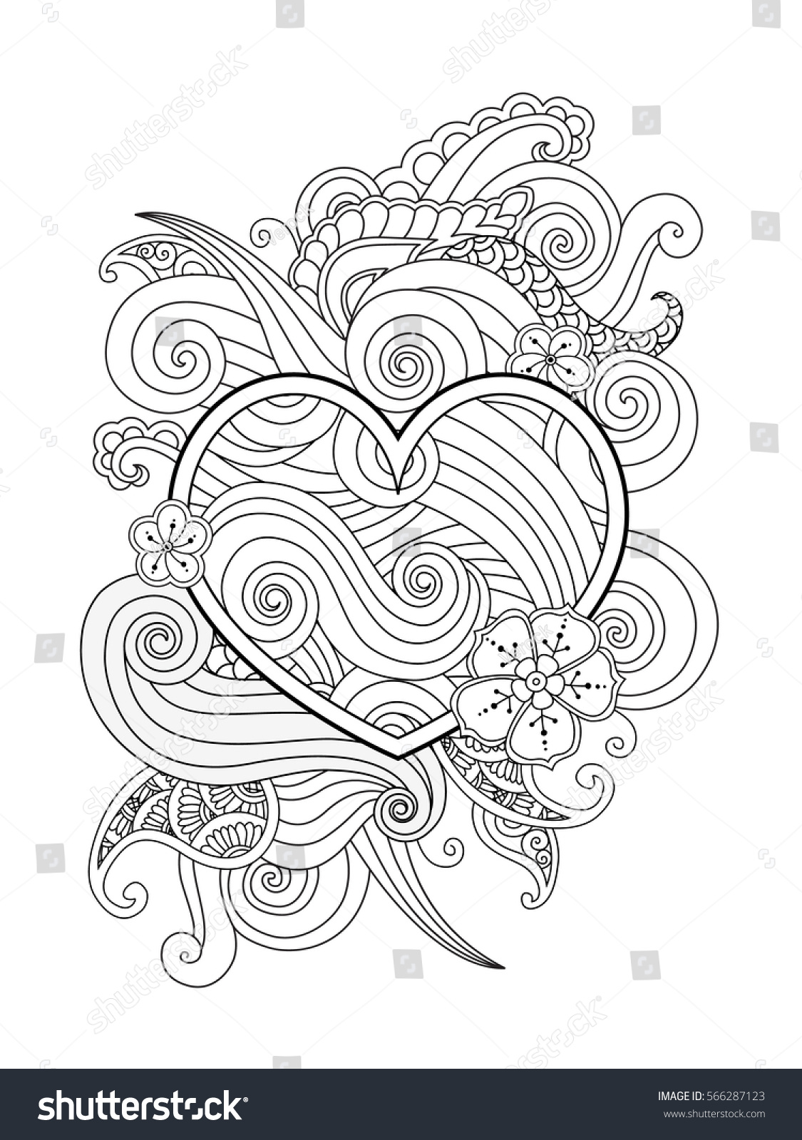 coloring page heart abstract element isolated stock vector