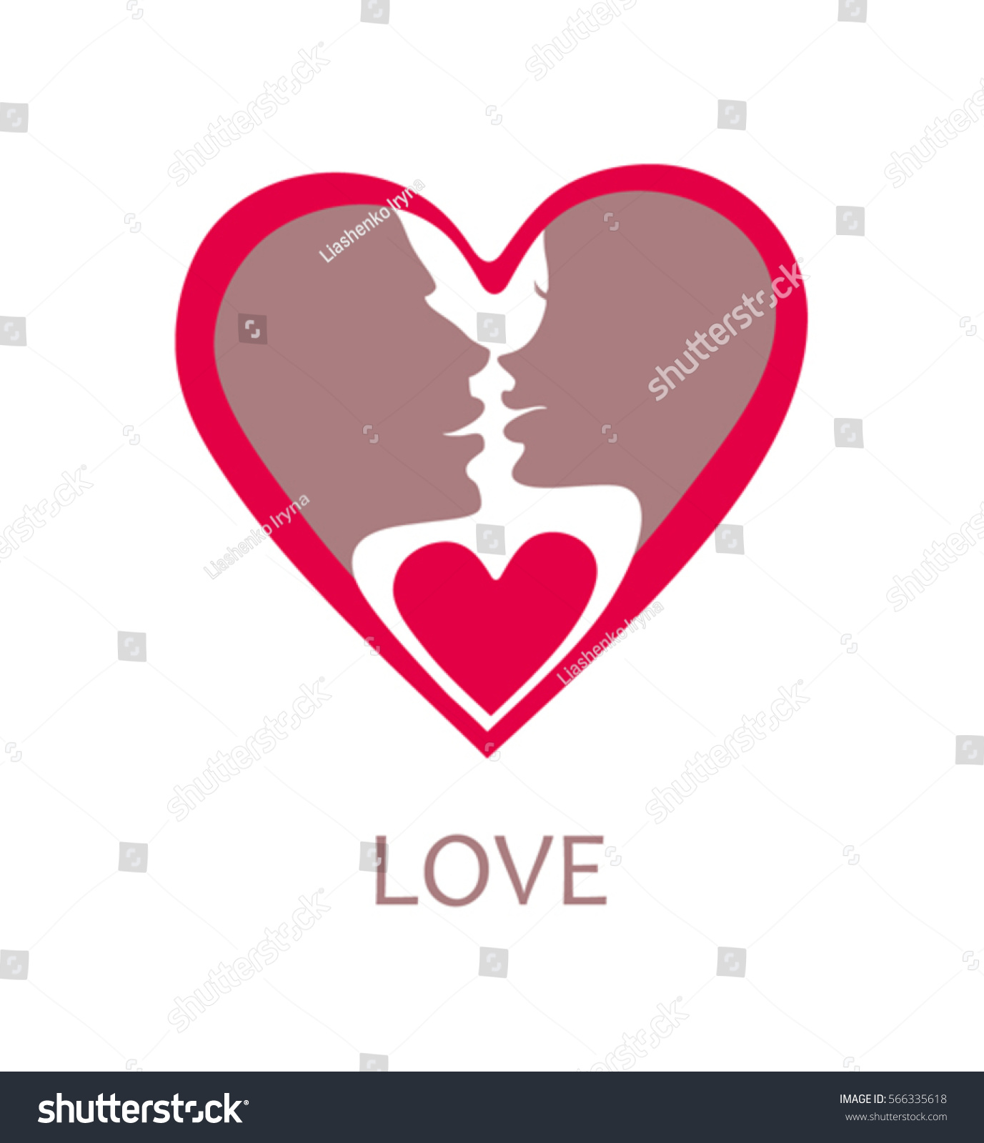 Flat Heart Shape Symbol Faces Men And Women Before The Kiss Ez