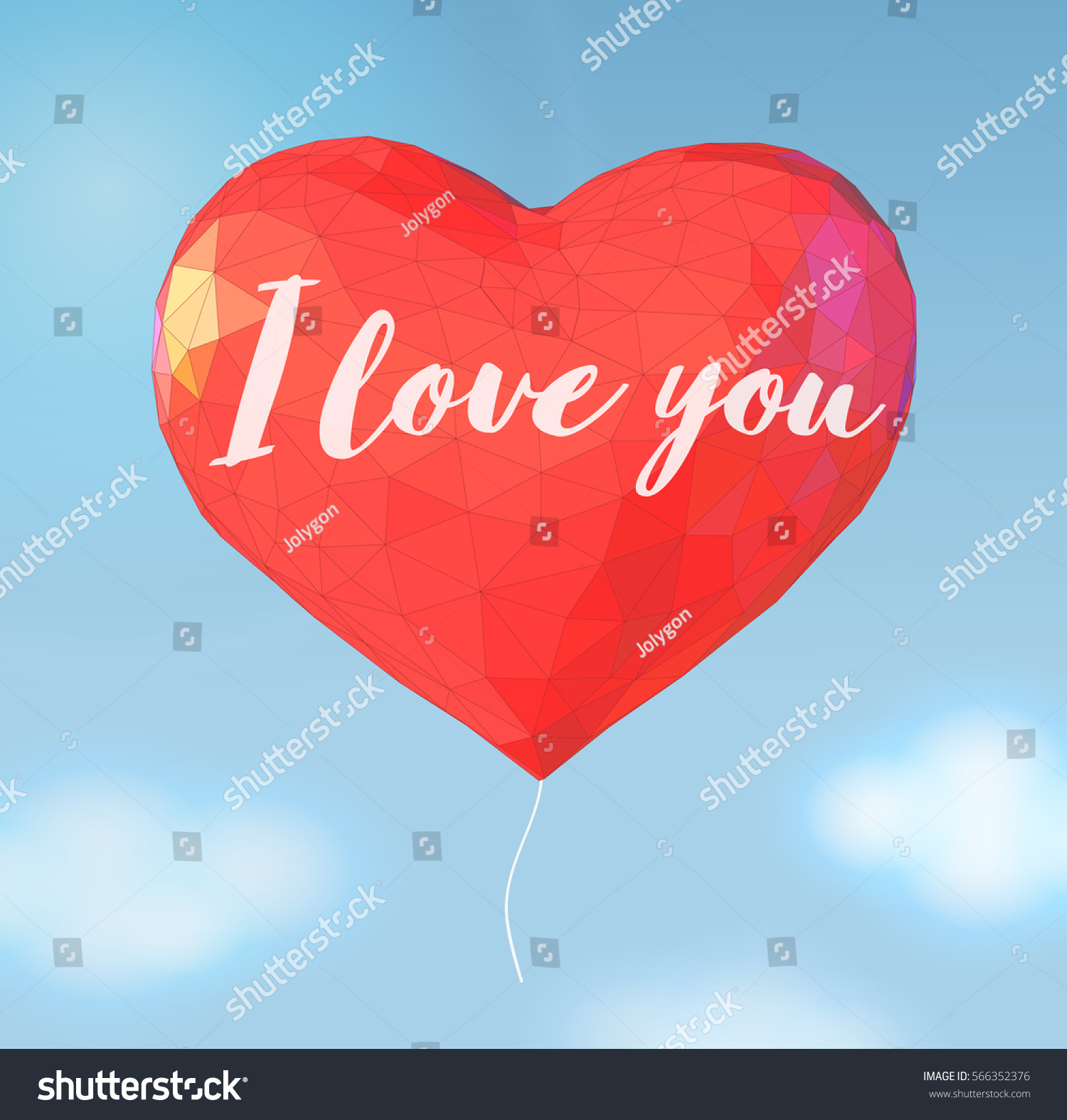 Big red polygonal balloon heart symbol stock vector 566352376 big red polygonal balloon heart symbol shape on blue sky background with text message for valentine buycottarizona Image collections
