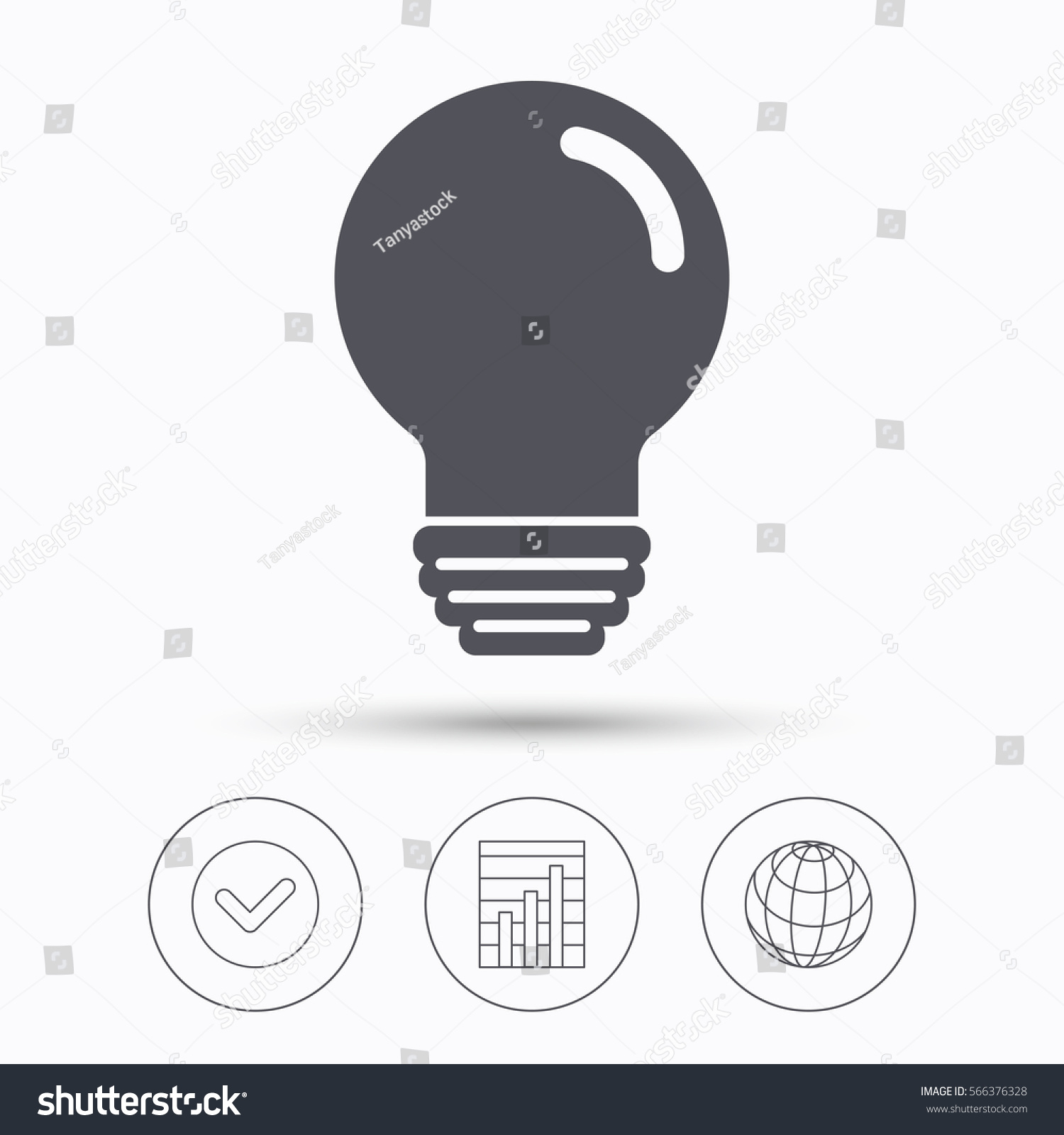 Royalty Free Stock Illustration Of Light Bulb Icon Lamp Sign Incandescent Diagram Group Picture Image By Tag Illumination Technology Symbol Check Tick Graph Chart