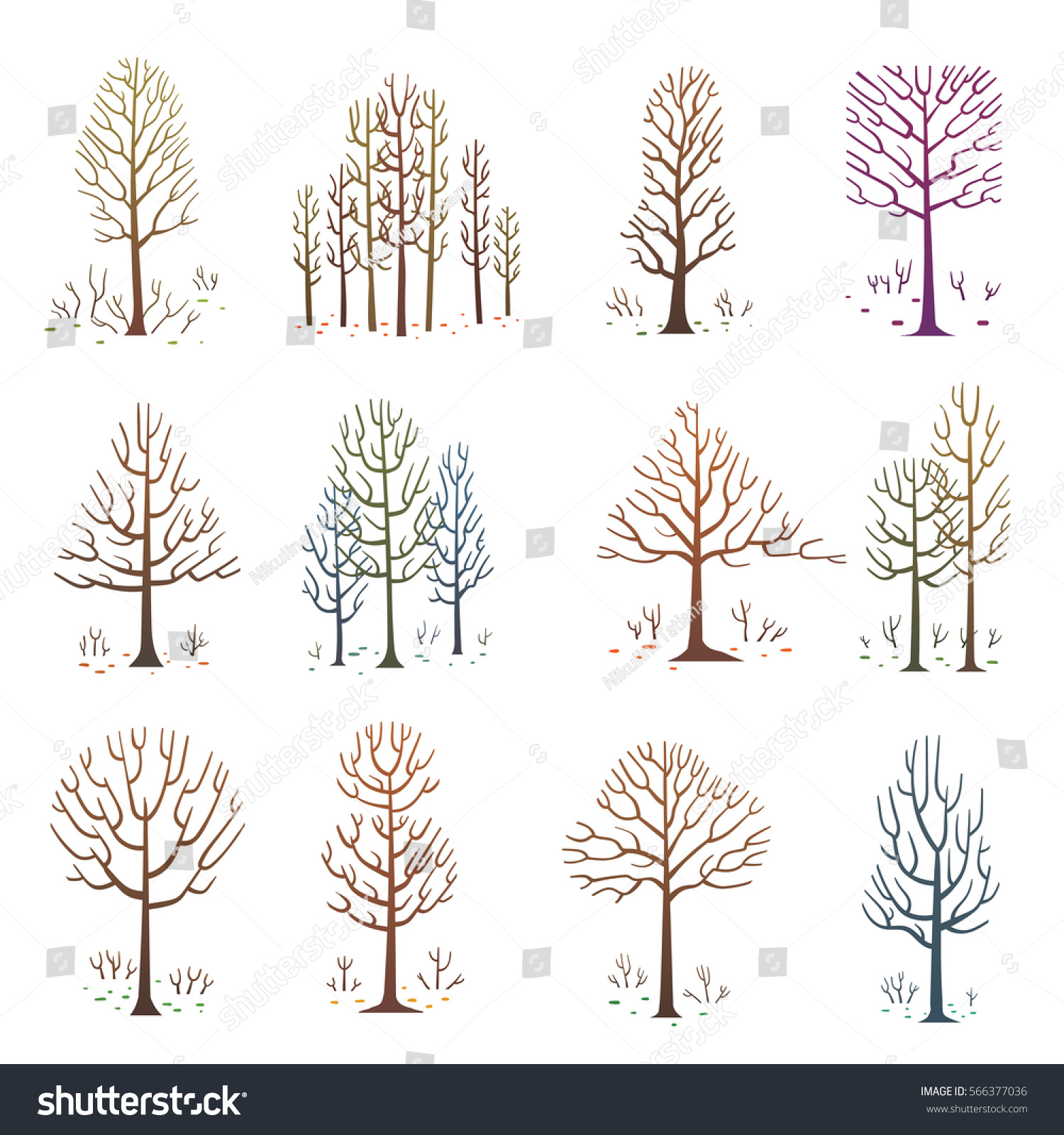 Vector Set Cartoon Images Various Bare Stock Vector Royalty Free