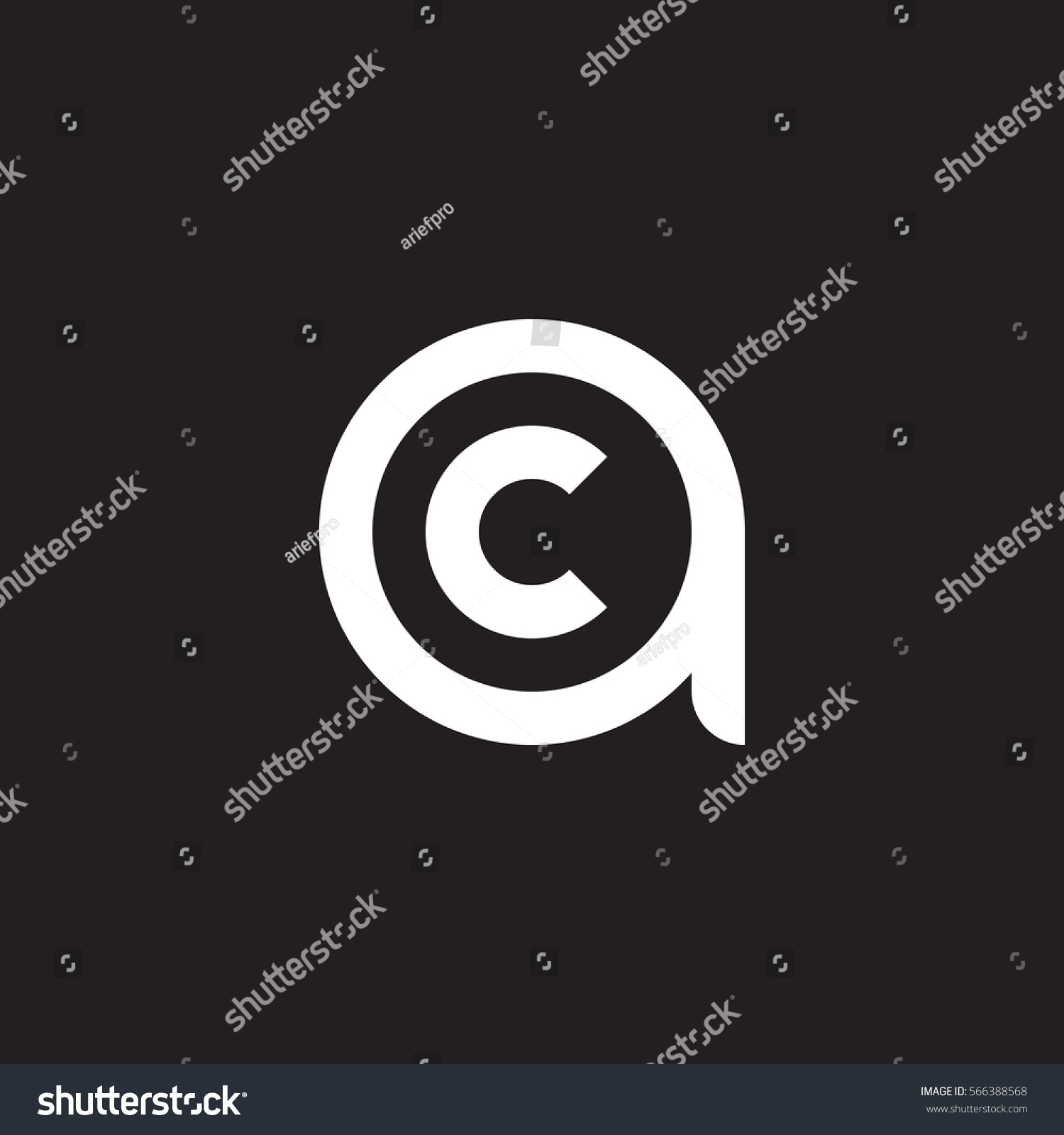 Initial letter logo ac ca c stock vector 566388568 shutterstock initial letter logo ac ca c inside a rounded lowercase white black background biocorpaavc