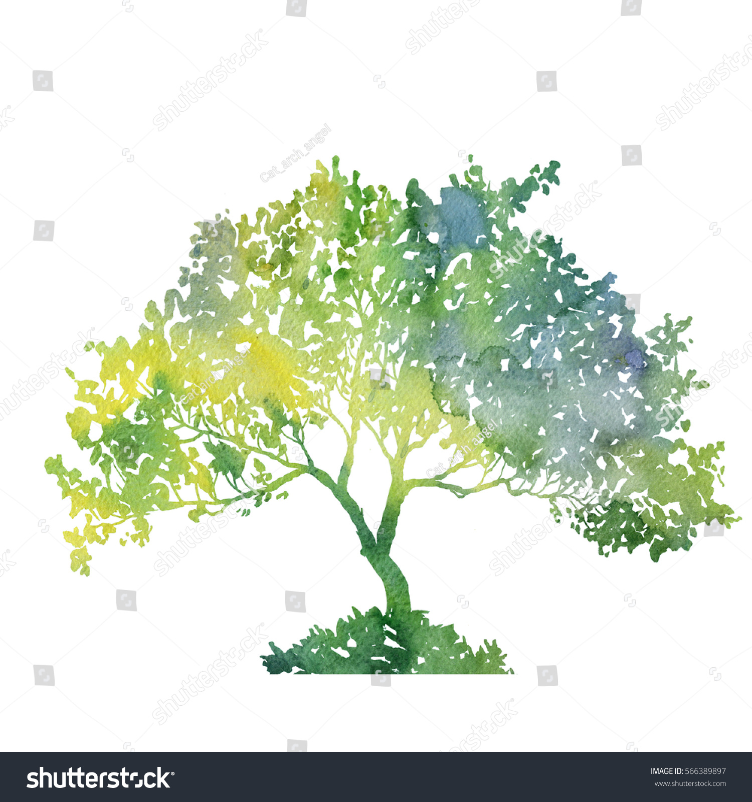 Silhouette Green Tree Leaves Drawing Watercolor Stock Illustration ...