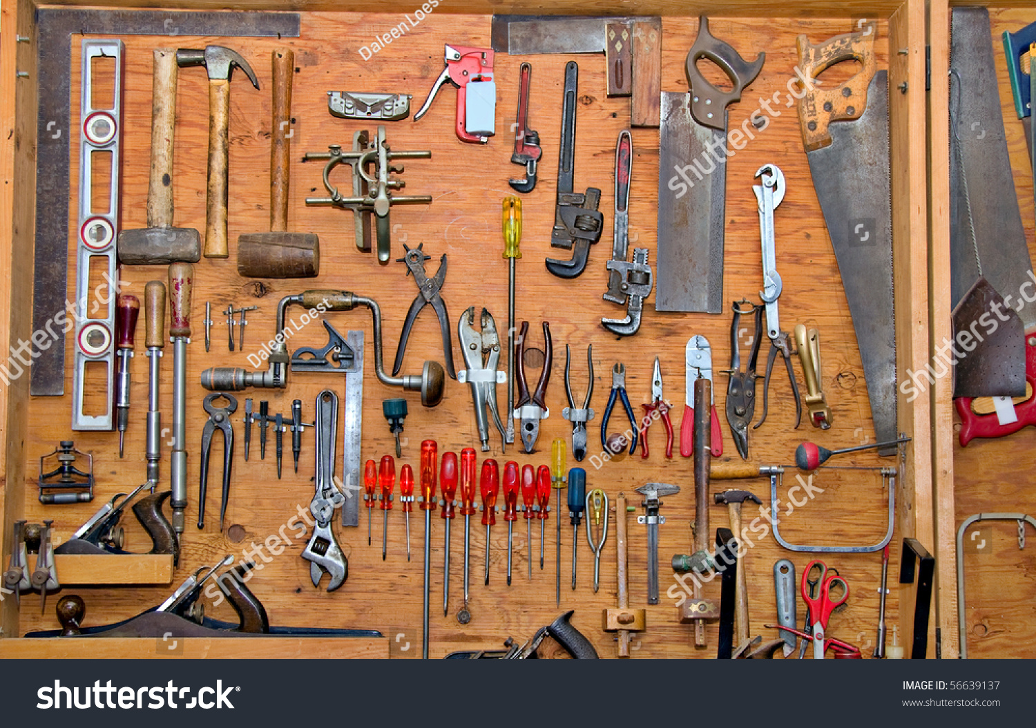 hanging tools on wall assortment do yourself tools hanging wooden stock photo 4145