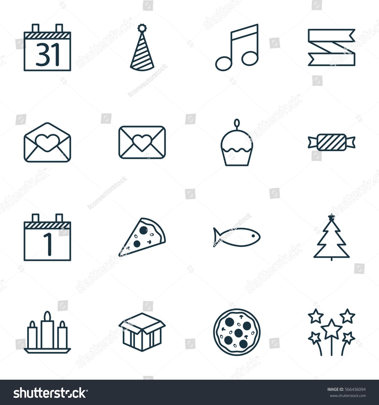 Set 16 Happy New Year Icons Stock Illustration 566436094 Shutterstock