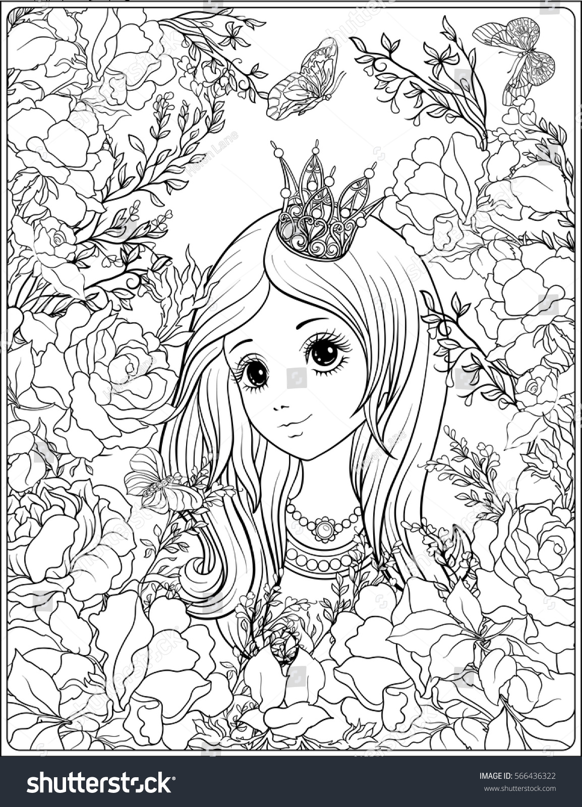 Garden Of Roses Outline Stock Vector Young Nice Girl In Princess Crown The Drawing Coloring Page 566436322