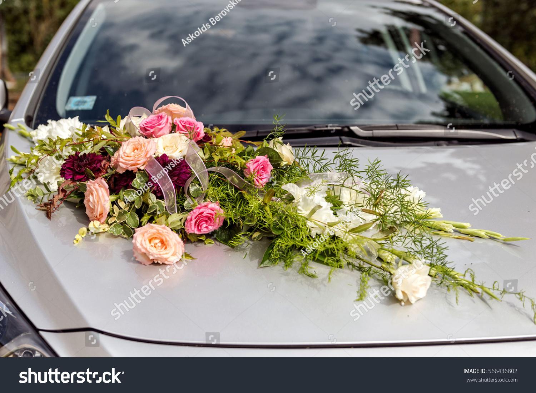 Flower Decoration On Wedding Cars Stock Photo Edit Now 566436802