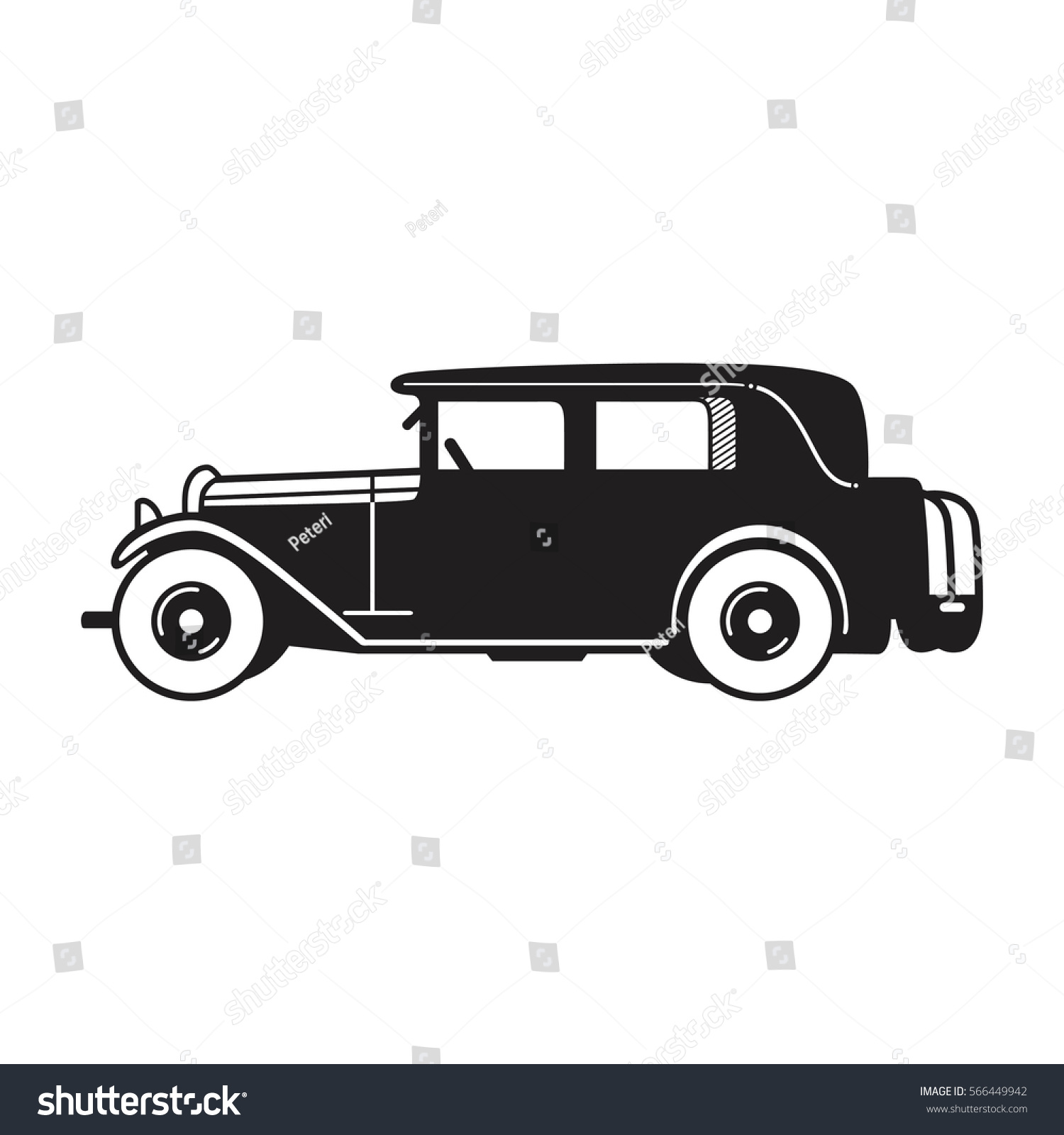 Vintage Car Vector Icon Limousine Sedan Stock Vector (2018 ...