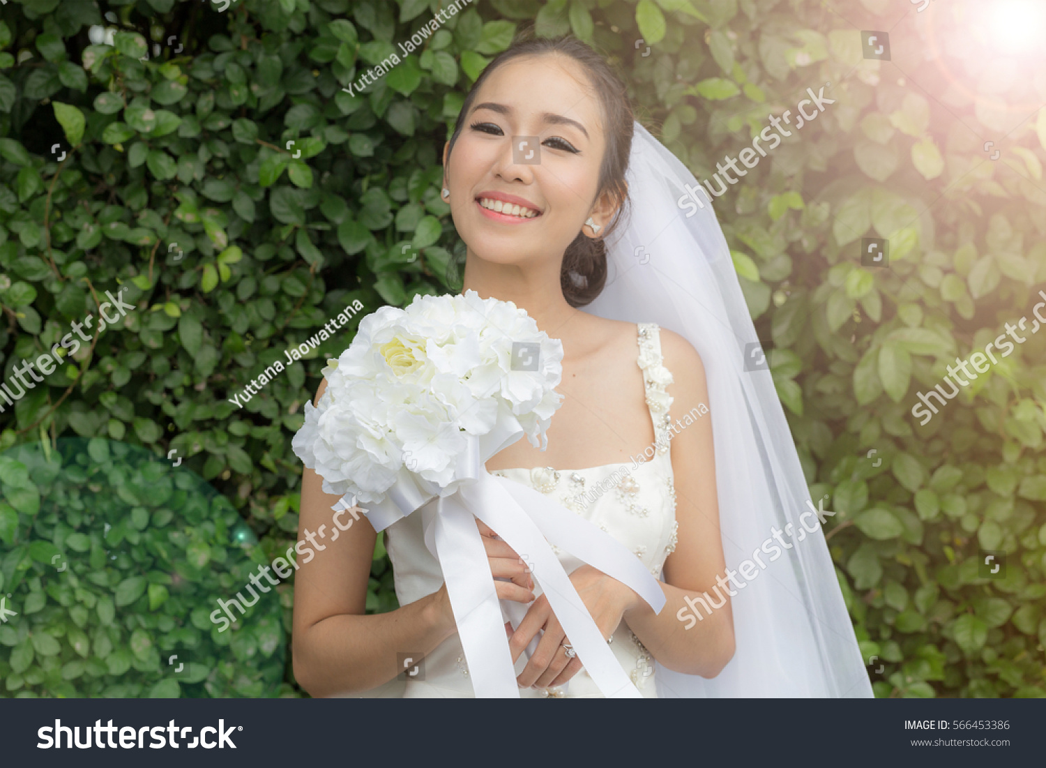 Asian Bride Smile Holding Bouquet Wedding Stock Photo (Download Now ...