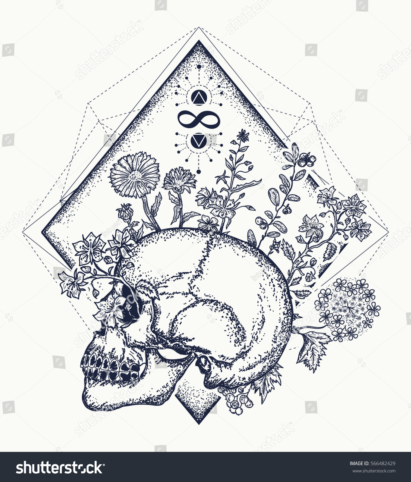 Human Skull Through Which Flowers Tattoo Stock Vector Royalty Free