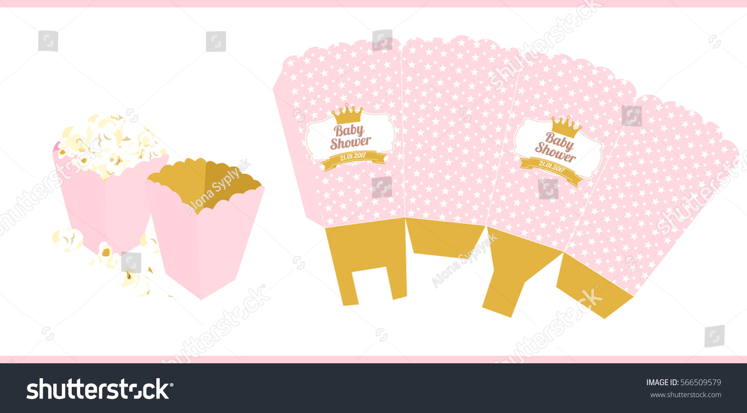 Popcorn paper box template little princess stock vector 566509579 popcorn paper box template for little princess pronofoot35fo Image collections
