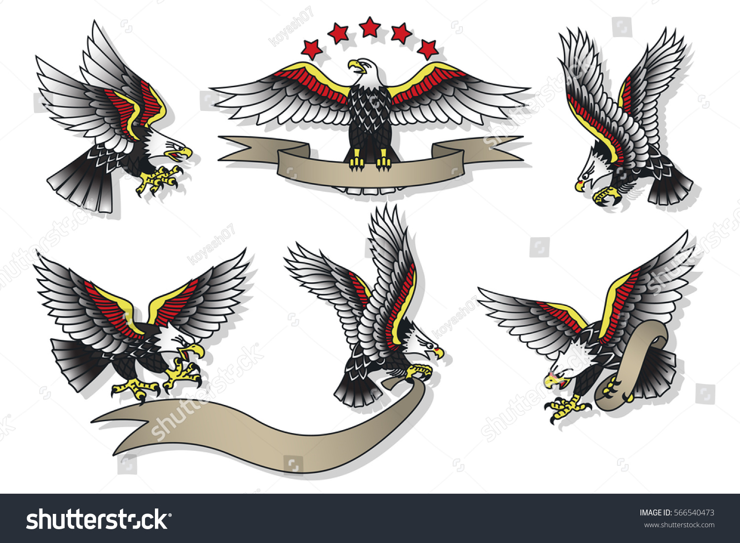 Vector American Eagles Set Traditional Tattoo Stock Vector (Royalty ...