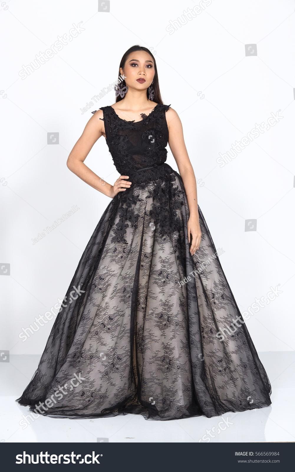 Tan Skin Woman Model Black Long Stock Photo (Royalty Free) 566569984 ...