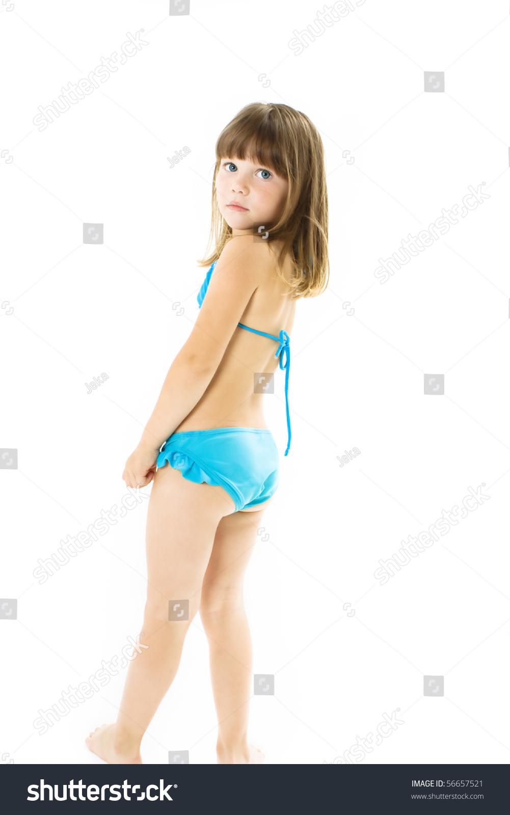 Little girl in bikini rear view Little girl in bathing suit posing. Studio shoot