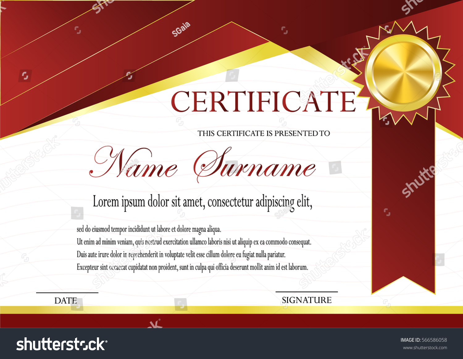 Certificate Gold Medal Template Fashionable Modern Stock