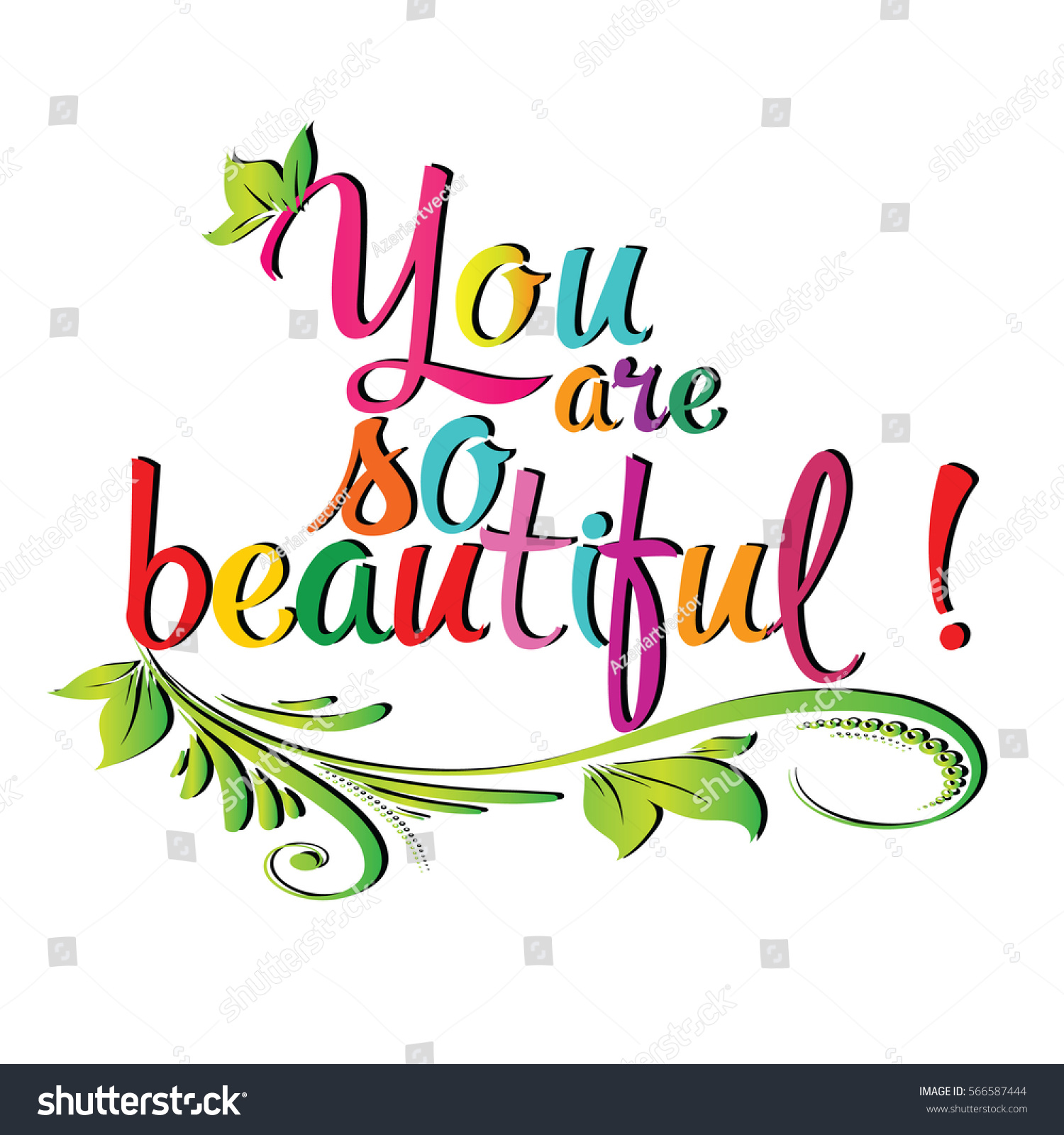 You Beautiful Vintage Colorful Calligraphic Lettering Stock Vector ...