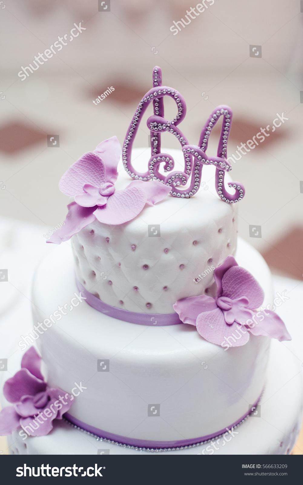 Sweet Multilevel Wedding Cake On Wedding Stock Photo (Royalty Free ...