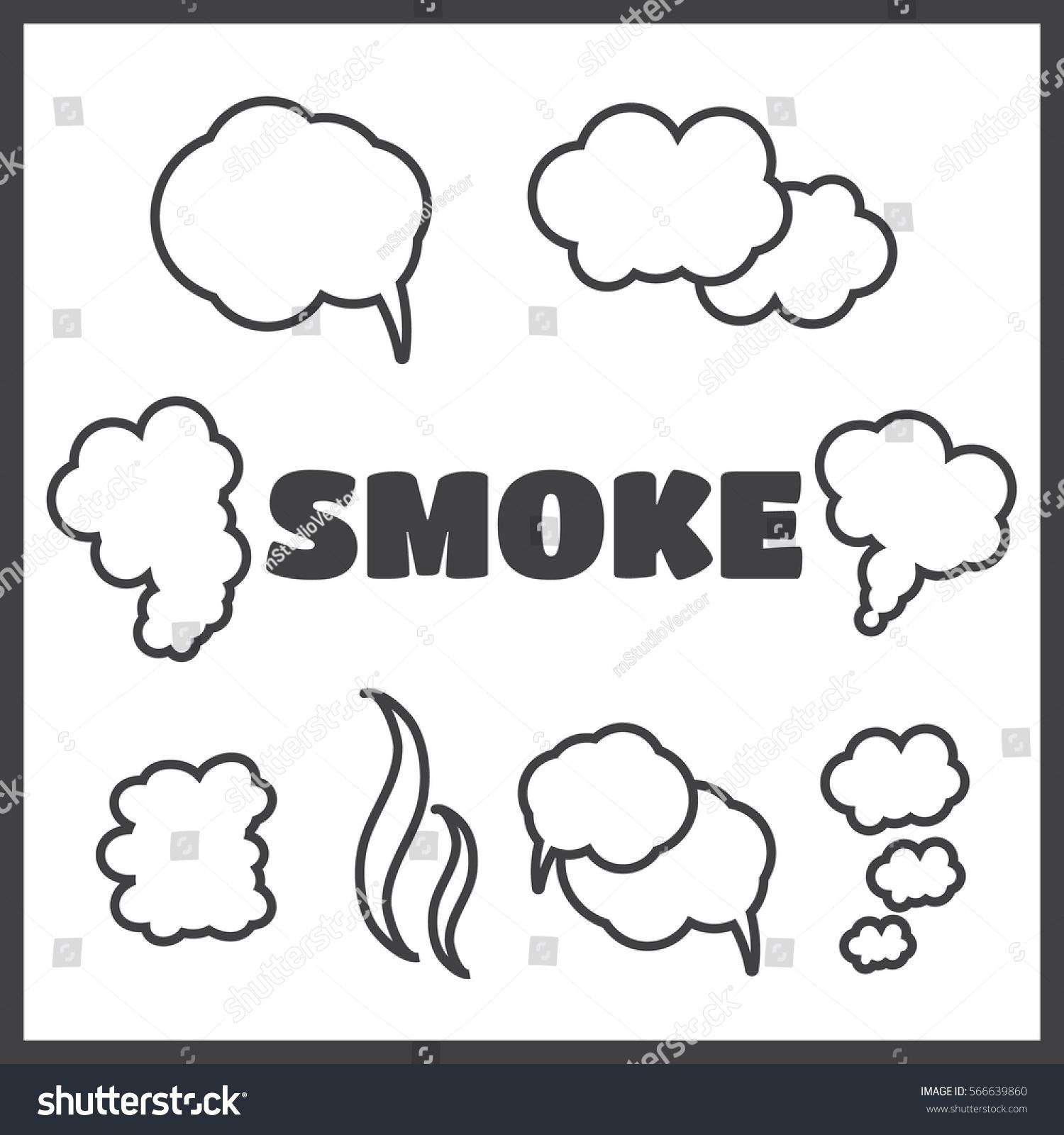 Steam Cloud Smoke Vector Icons Set Stock Vector 566639860
