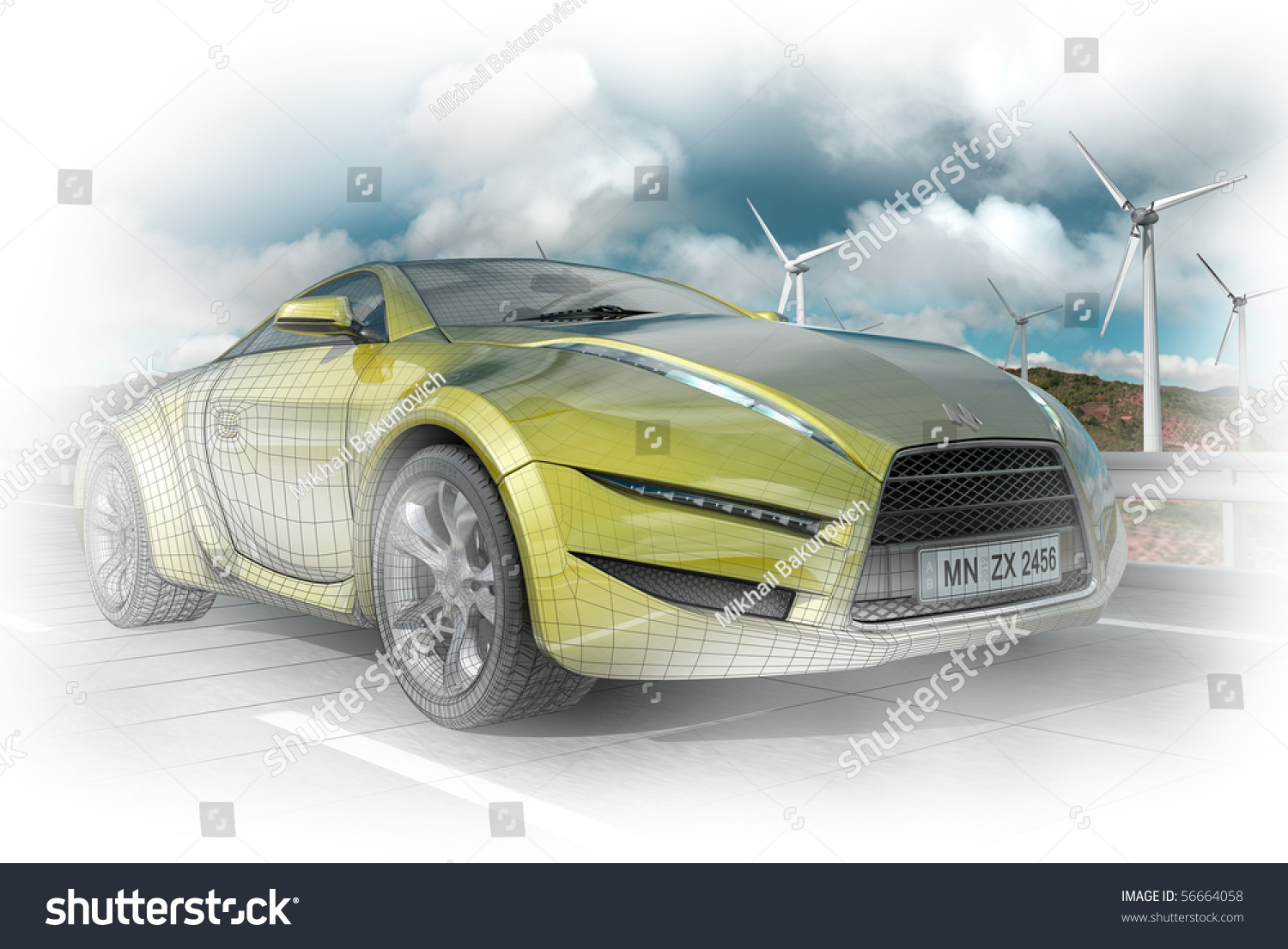 Concept Car Technology Wireframe Wire Center Chevrolet Gm Radio Cd 09383075 15764358 Delco Electronics Theft 3 D Render Stock Illustration 56664058 Rh Shutterstock Com Outline Clip Art