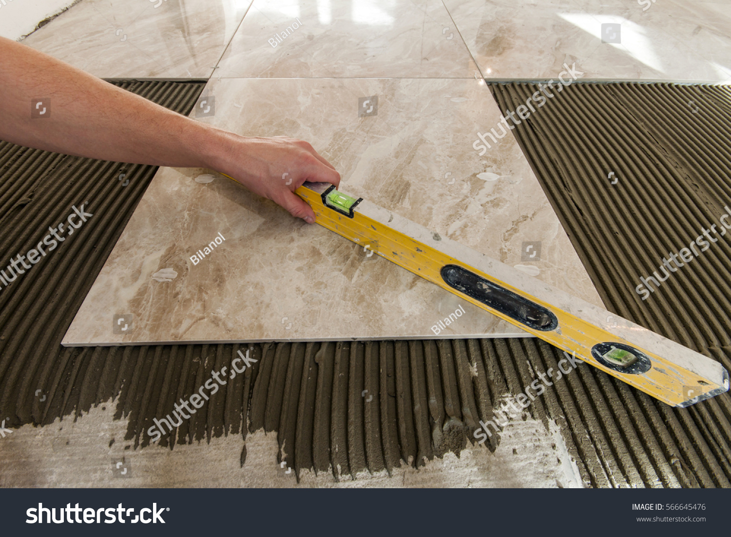 Ceramic Tiles Tools Tiler Floor Tiles Stock Photo Edit Now 566645476