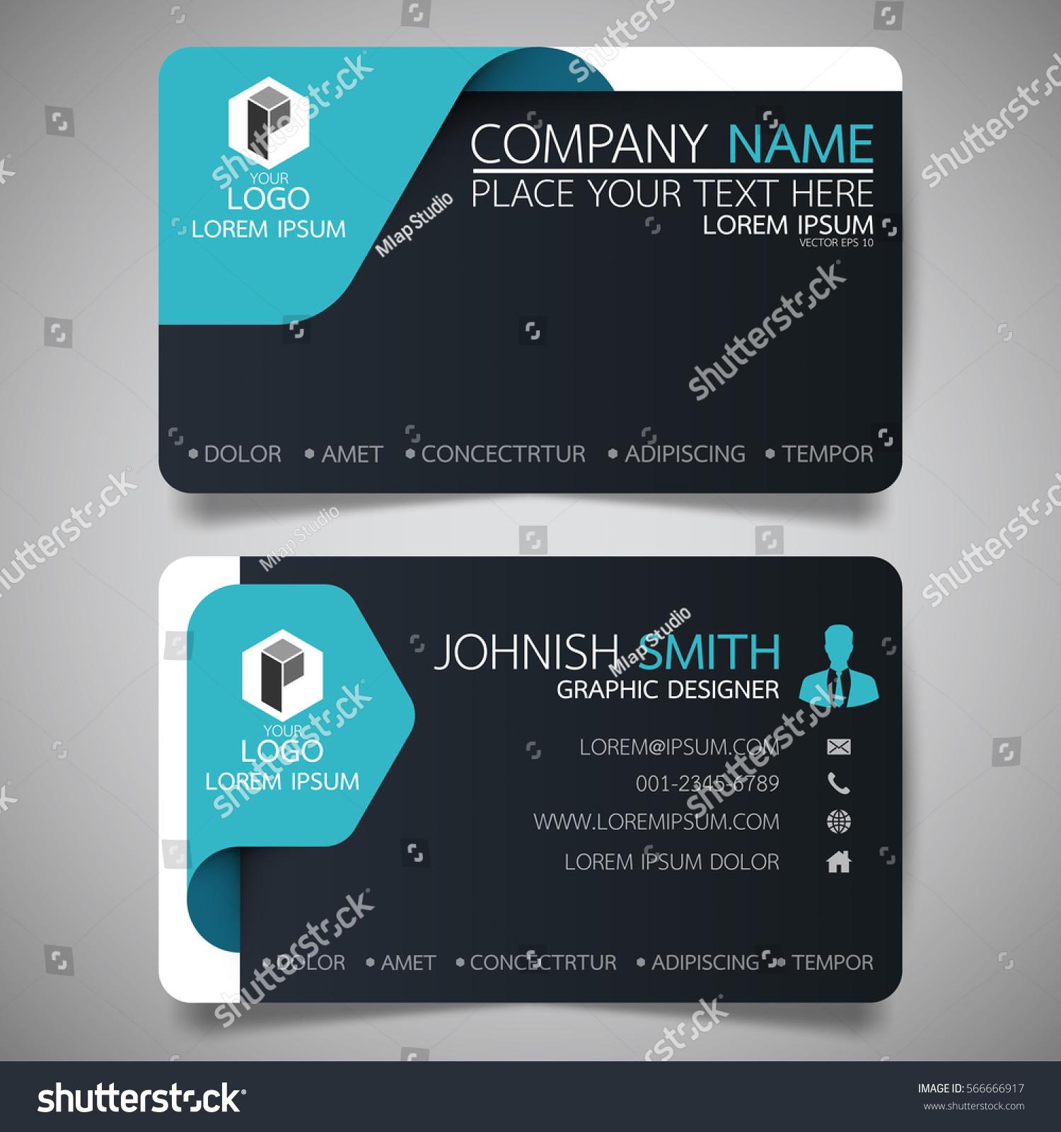 Blue Black Modern Creative Business Card Stock Vector 566666917 ...
