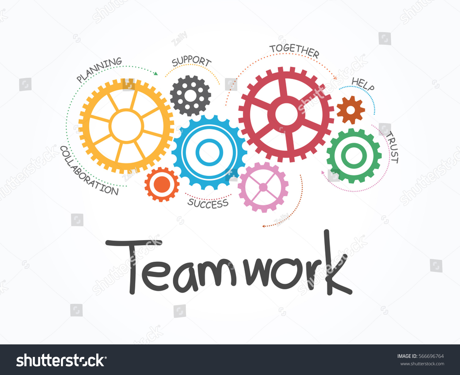 Teamwork Gear Concept Infographic Template Vector Stock Vector HD ...