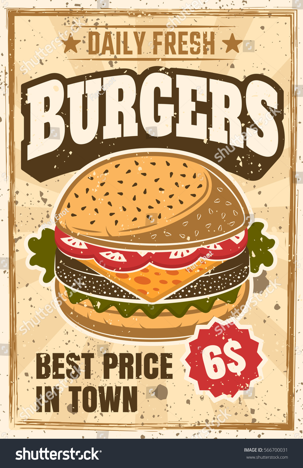 Burger Colored Advertising Poster Vintage Style Stock ...