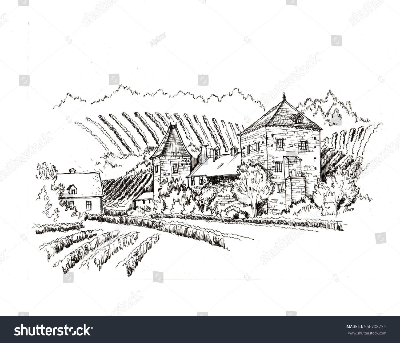 Vineyard Village Farm View Black White Stock Illustration 566708734 ... for Farm Illustration Black And White  181obs