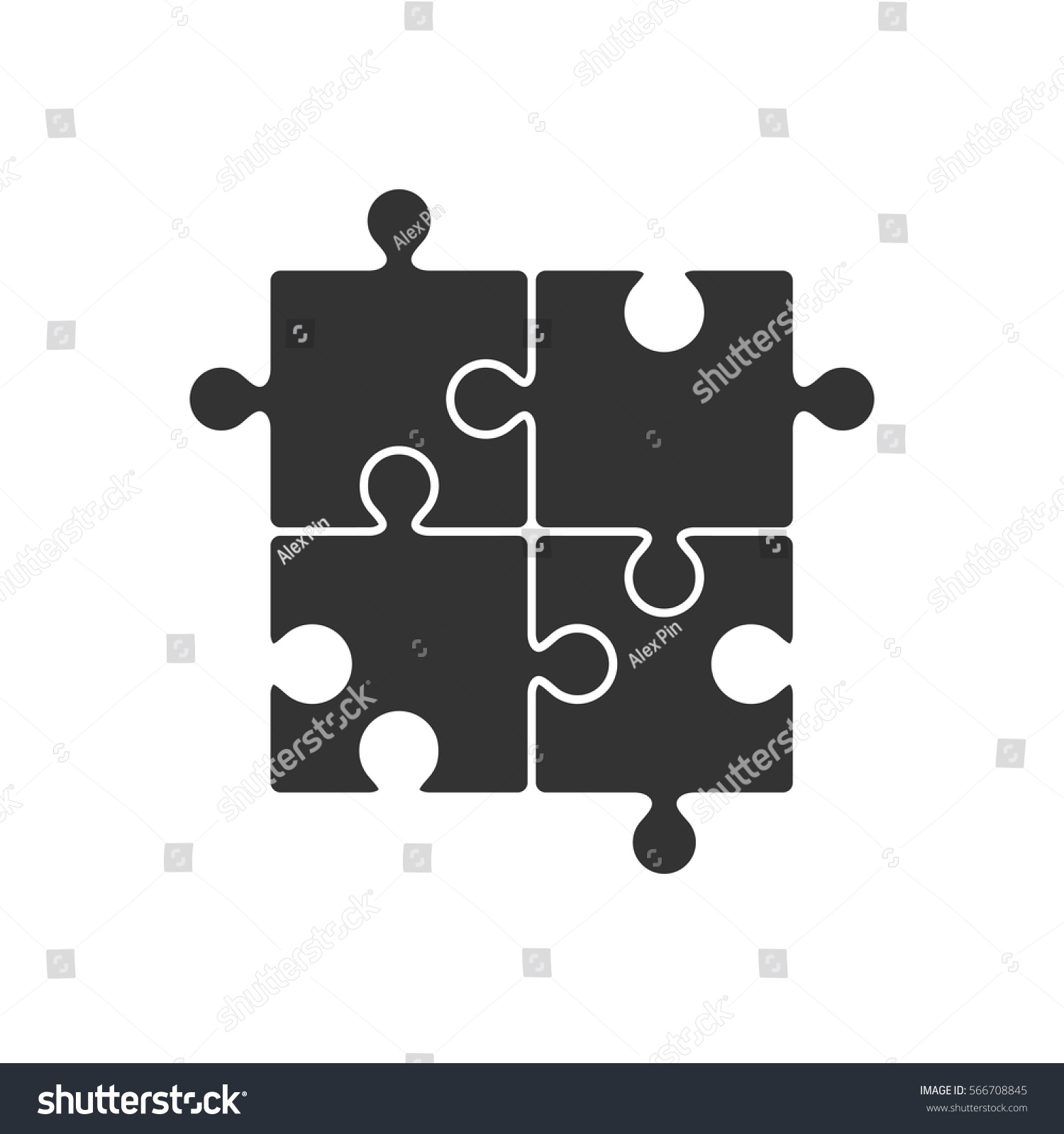 Four Piece Puzzle Icon Stock Vector HD (Royalty Free) 566708845 ...