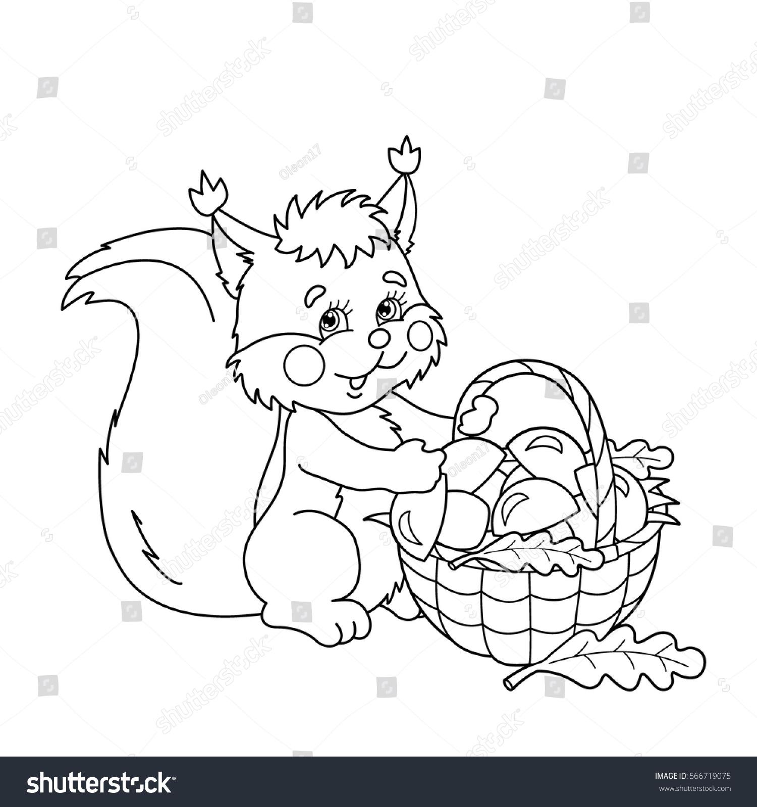 coloring page outline cartoon squirrel basket stock vector
