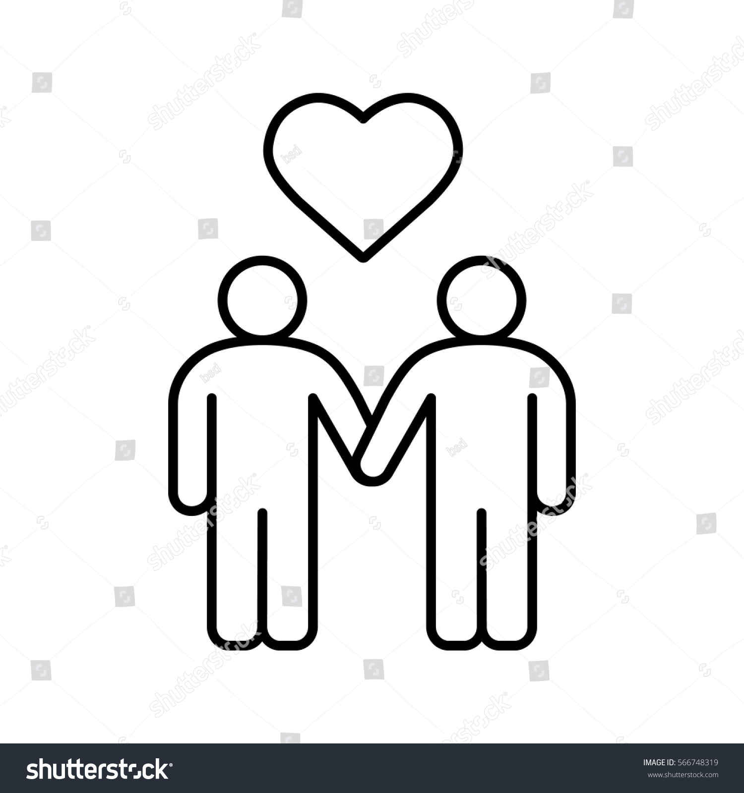Homosexual couple linear icon. Gays thin line illustration. Two men holding  hands with heart