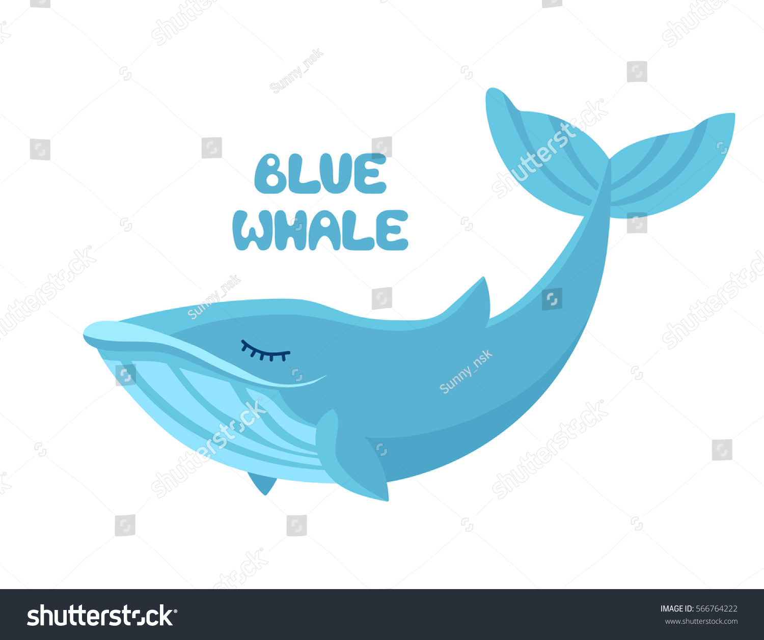Cute whale in water cartoon isolated illustration stock photography - Vector Cartoon Cute Blue Whale Isolated On White Background