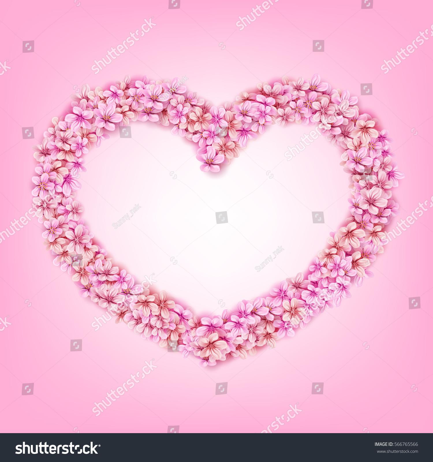 Vector pink sakura flowers japan cherry stock vector 566765566 vector pink sakura flowers japan cherry floral frame heart shape for valentines day decorative romantic element dhlflorist Images