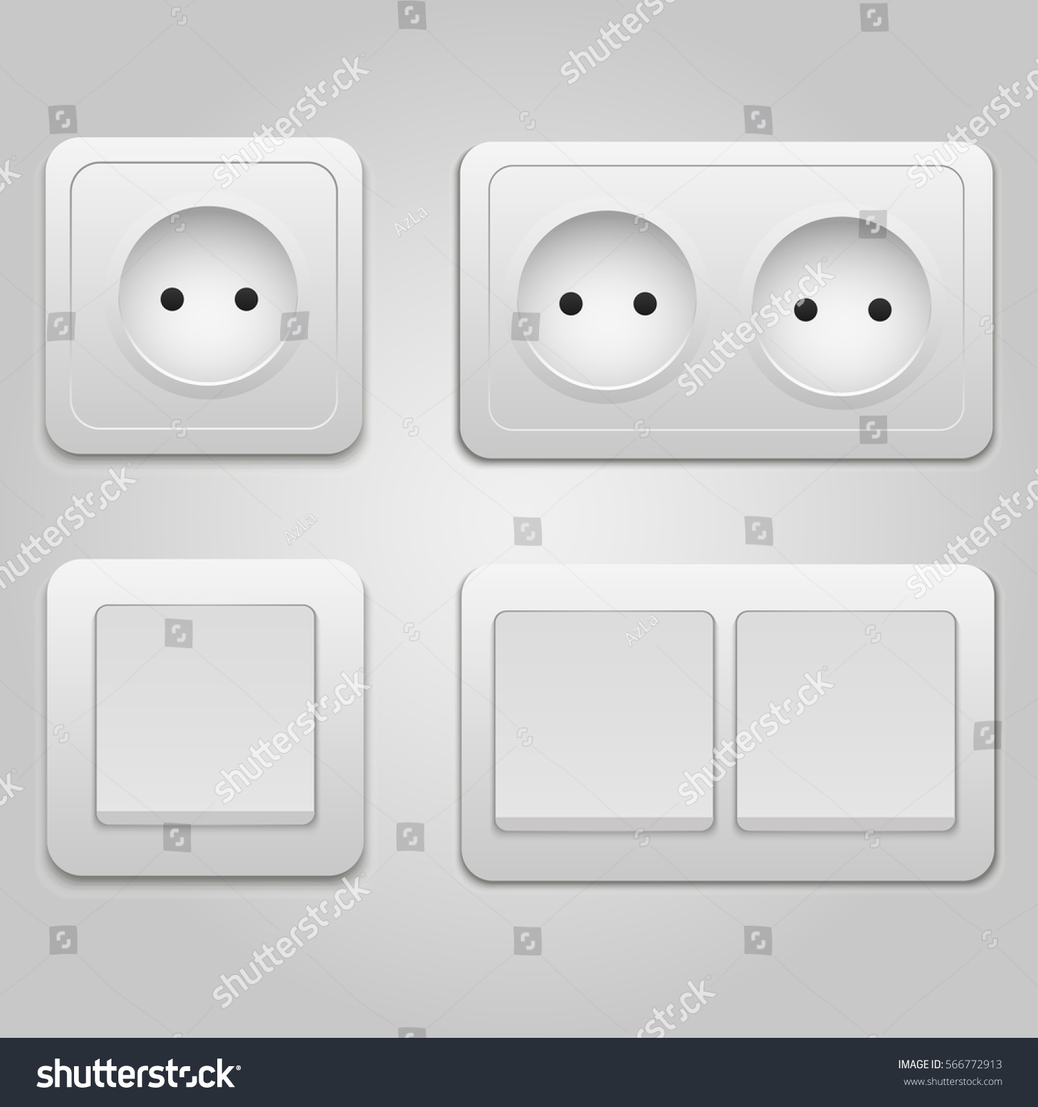 Vector Modern Power Socket And Light Switch Icon On Background Electric Outlet