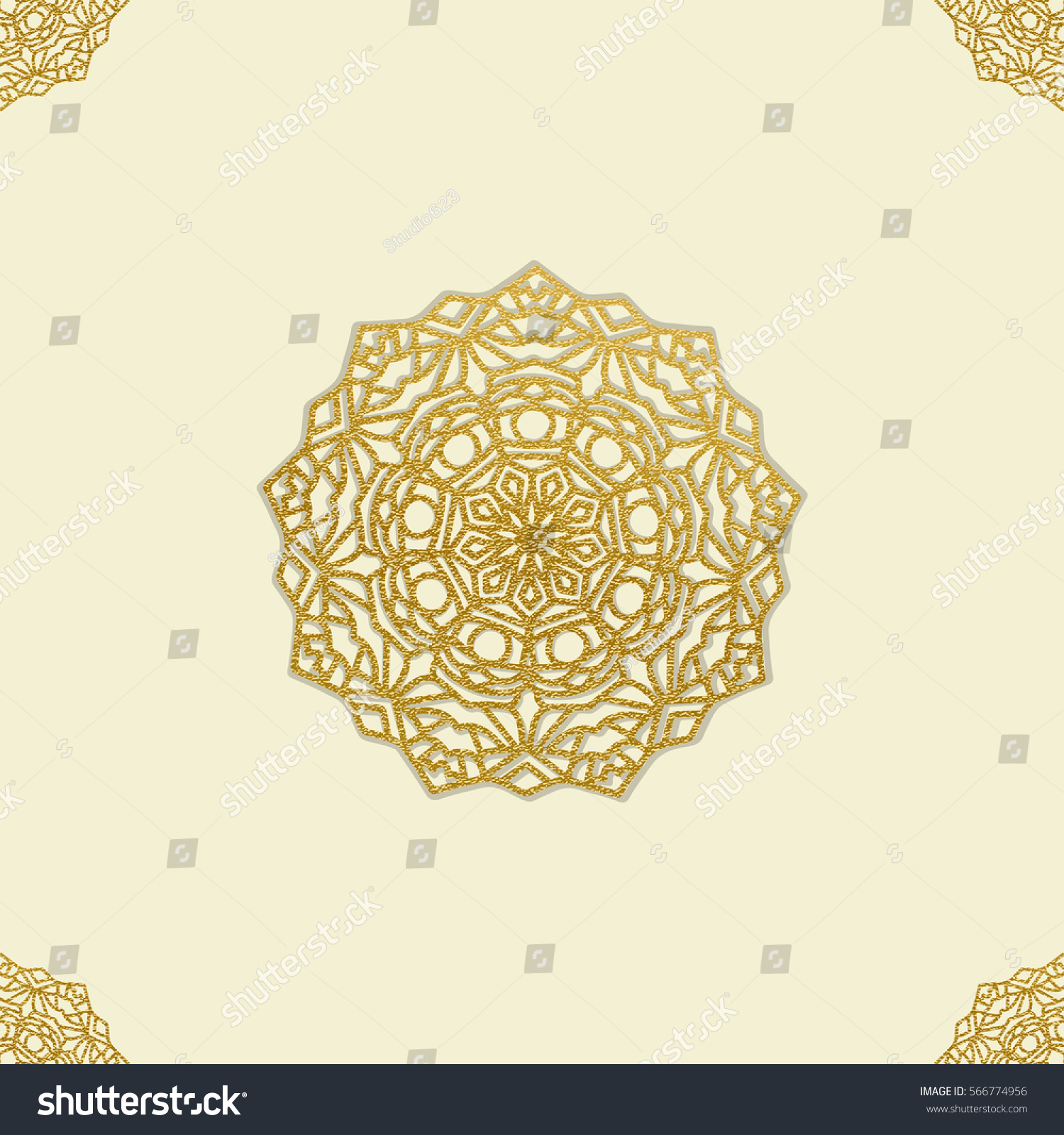 Golden mandala pattern card template arabic stock vector 566774956 golden mandala pattern card template for arabic wedding invitation with copy space in vector illustration stopboris Images