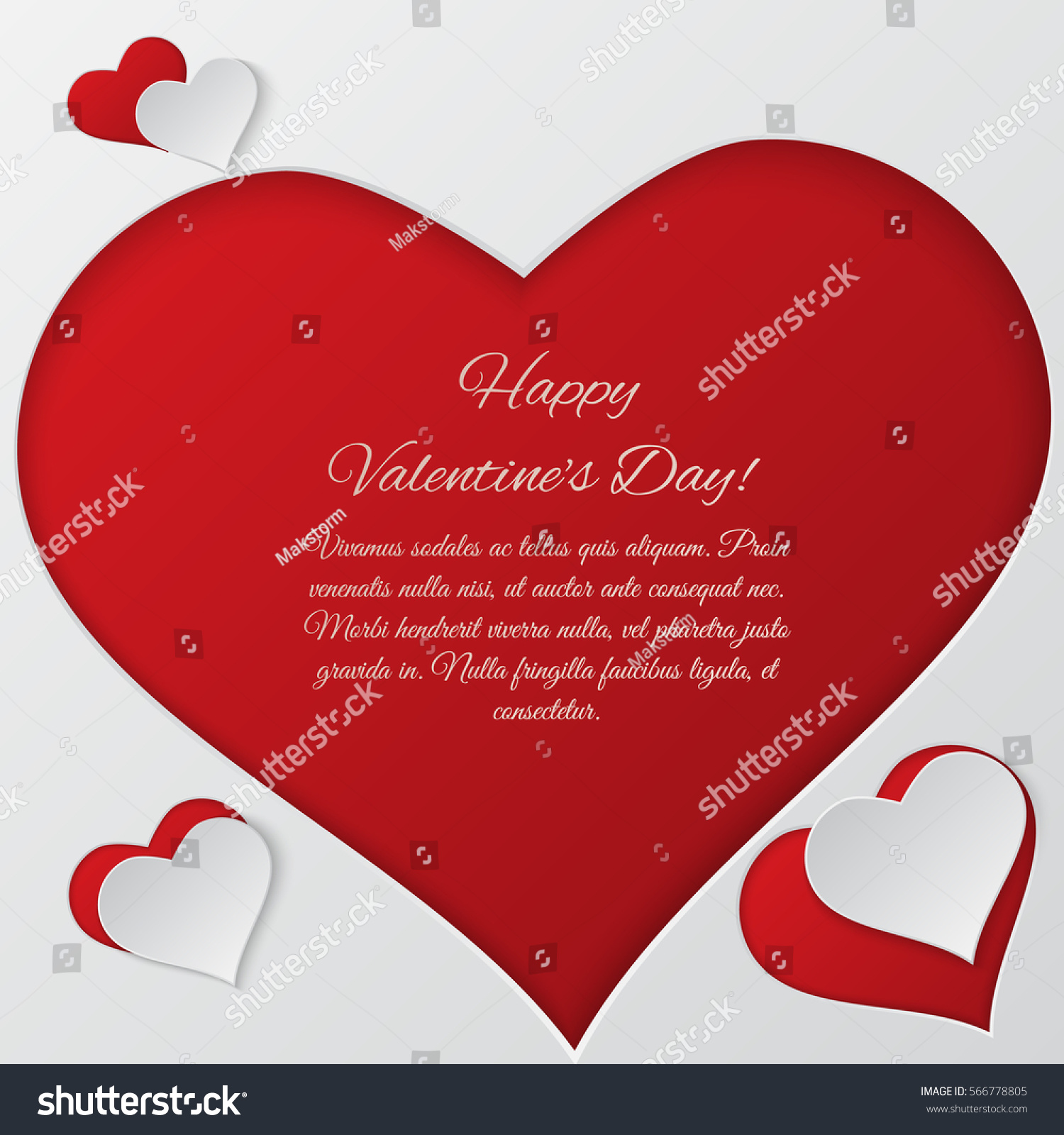 Valentines Day Vector Background Paper Cut Stock Vector Royalty