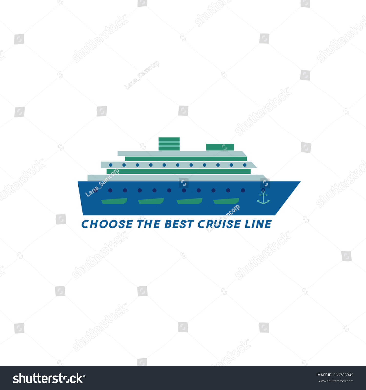 nautical symbol concept ocean liner icon stock vector