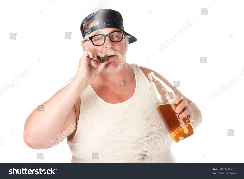 Fat Man Smoking Cigar Holding 40 Stock Photo 56680288