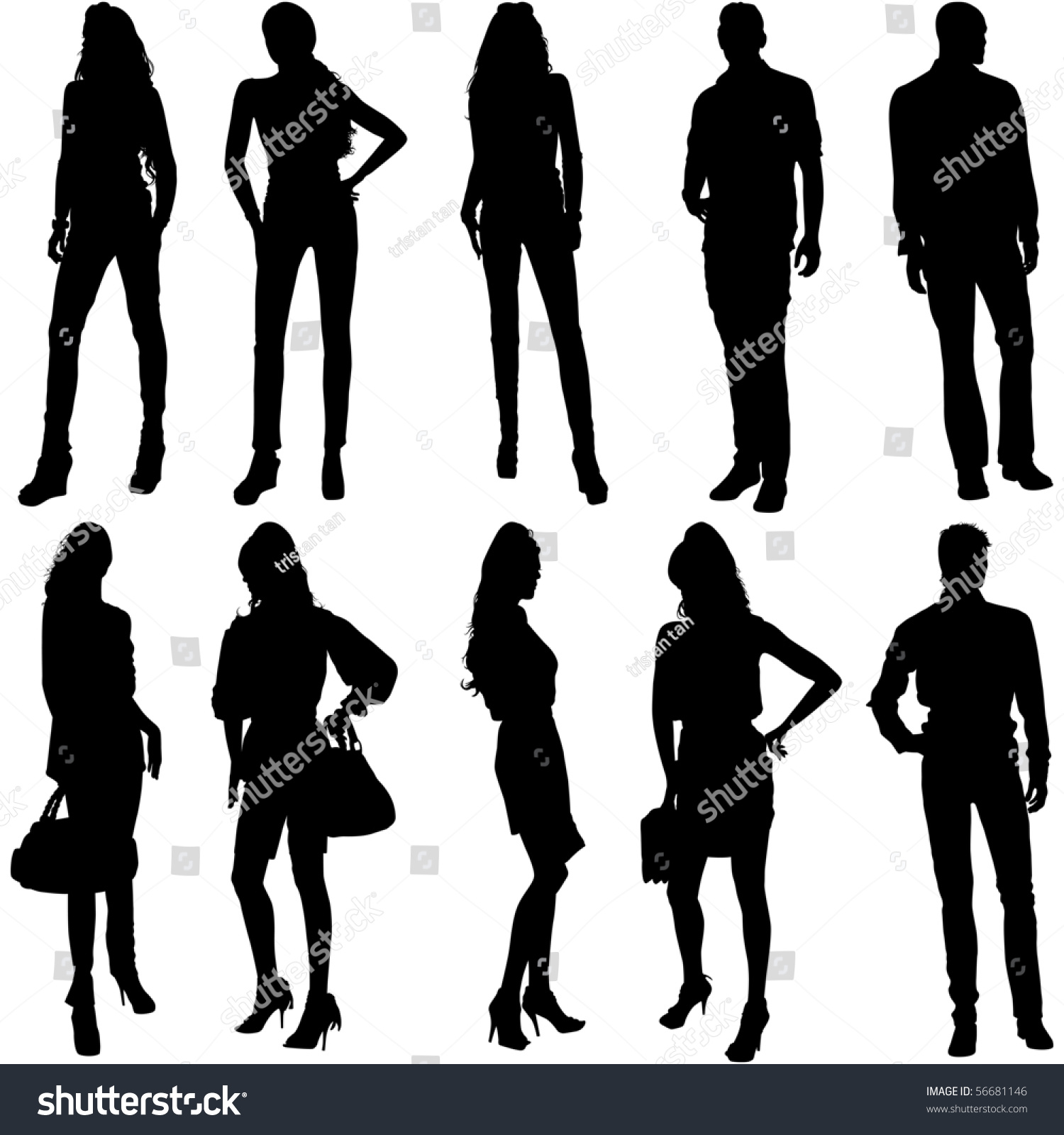 Vector Fashion Model Silhouettes This Fashion Stock Vector