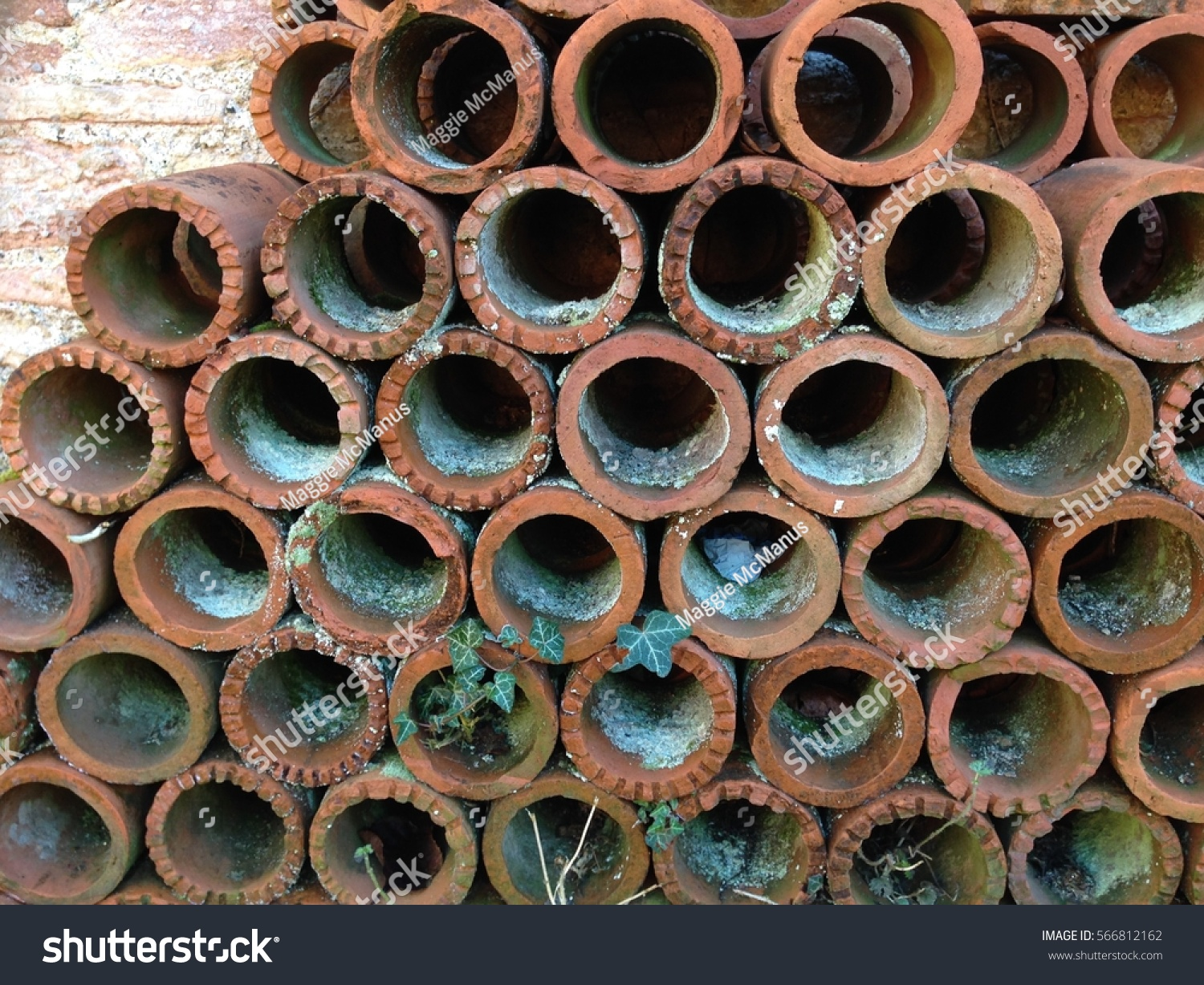 Old Sections Vintage Clay Water Pipes Stock Photo (Royalty Free ...