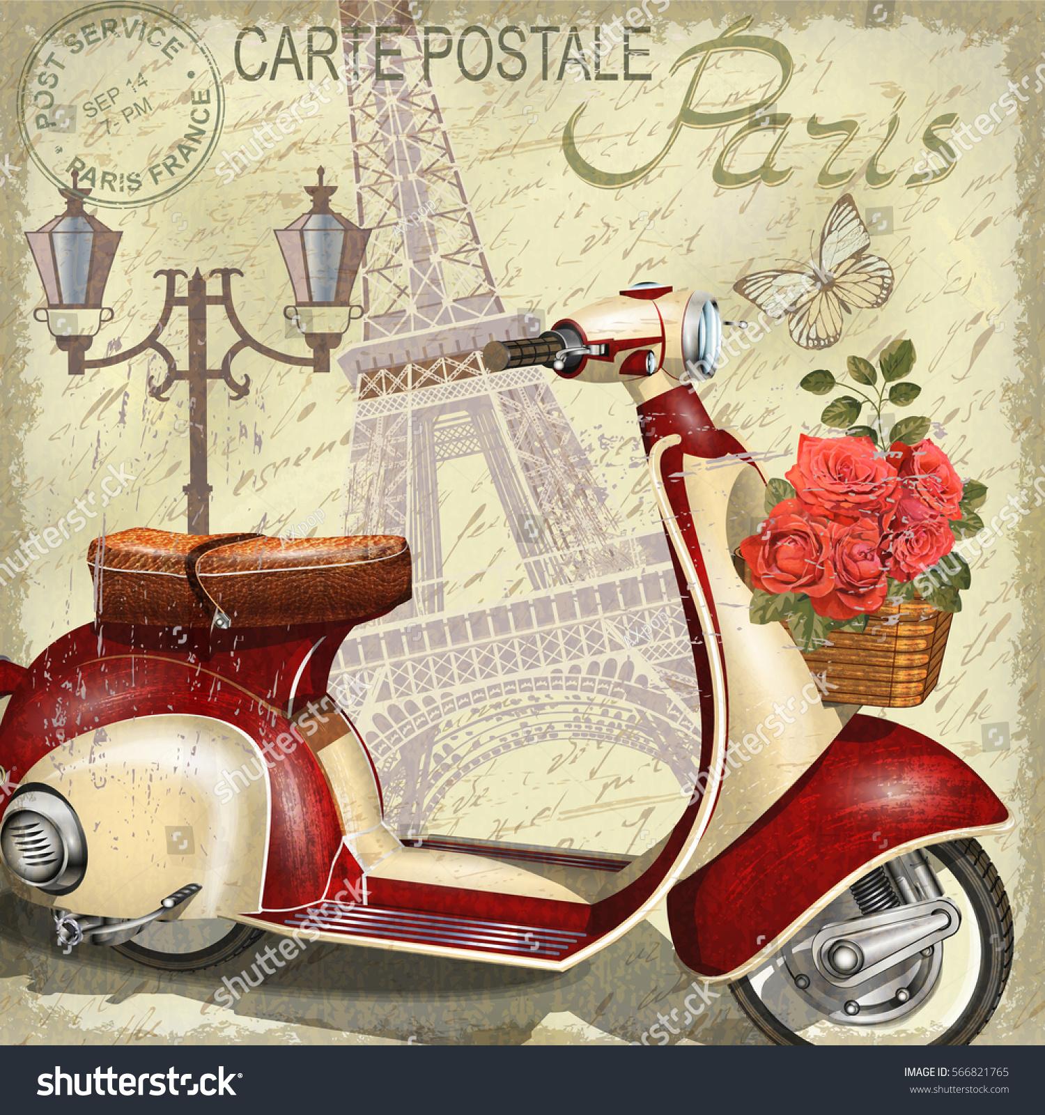 paris vintage poster stock vector 566821765 shutterstock. Black Bedroom Furniture Sets. Home Design Ideas